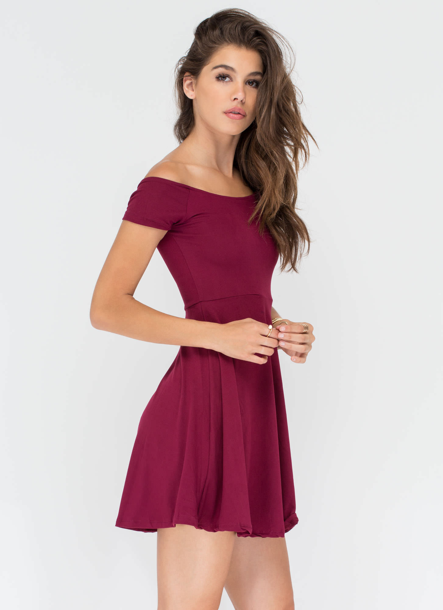 Pretty Twirl Skater Dress BURGUNDY