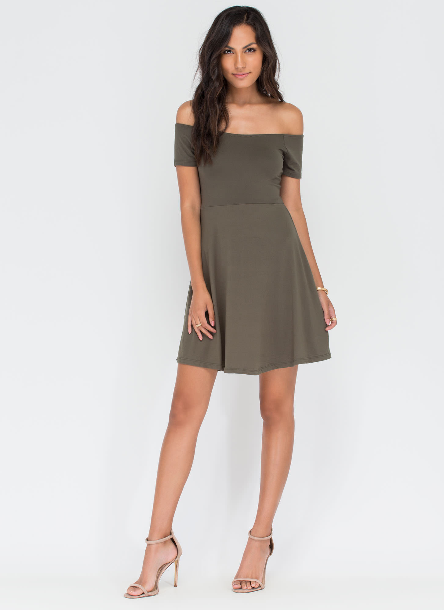 Pretty Twirl Skater Dress OLIVE