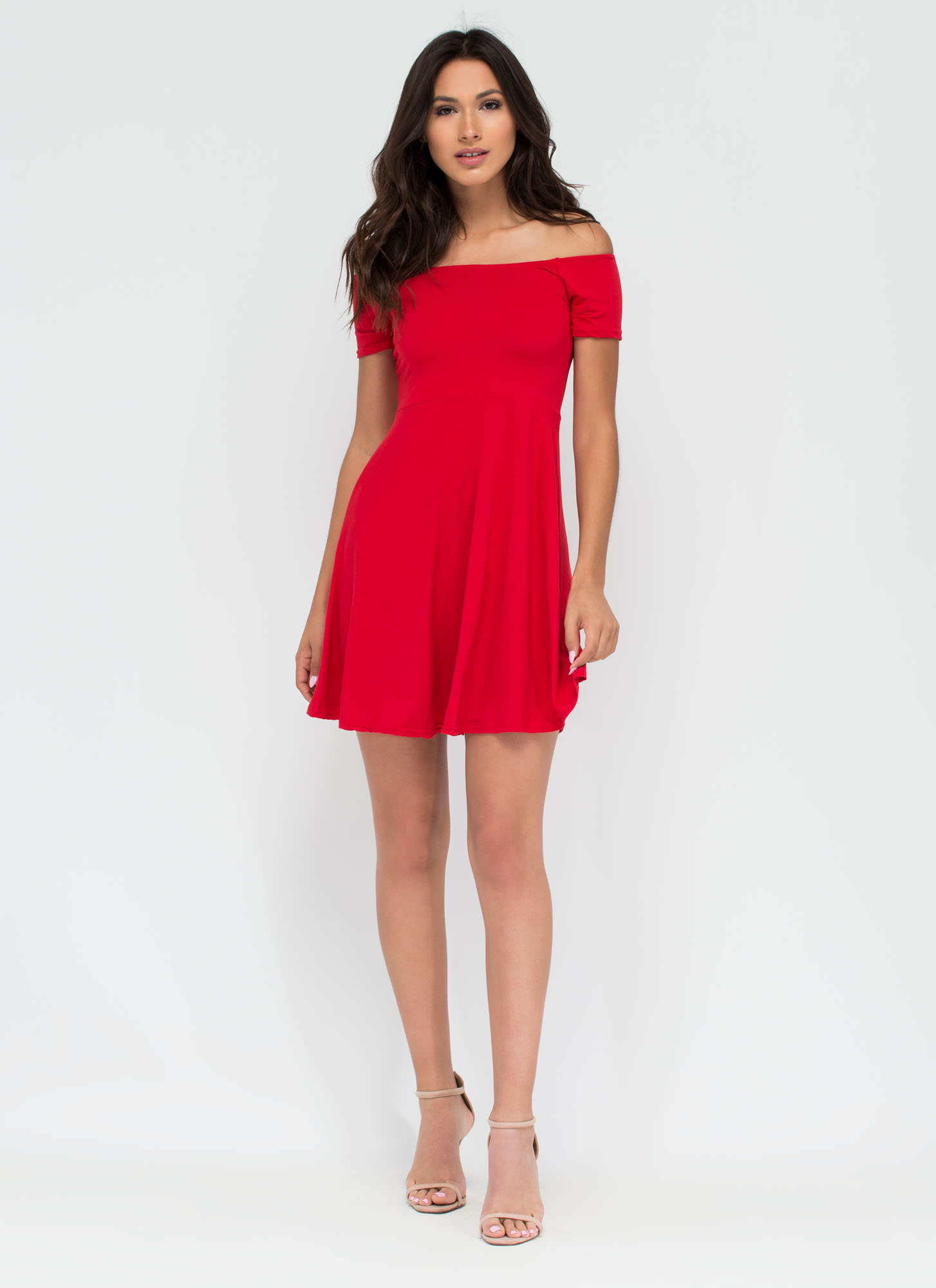 Pretty Twirl Skater Dress RED