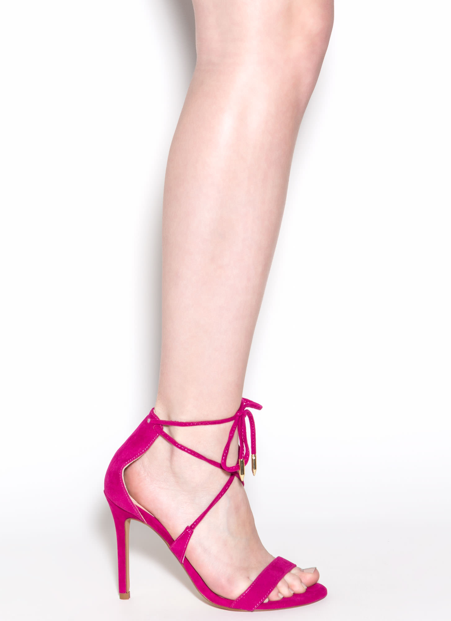 Stepping Out Faux Suede Heels FUCHSIA