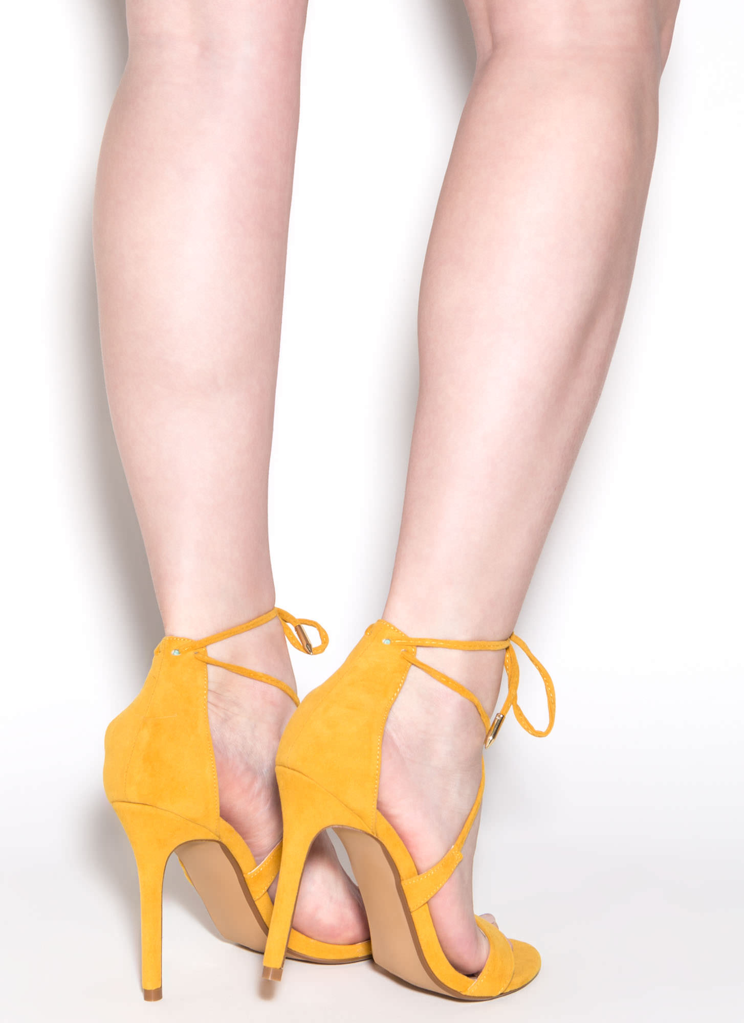 Stepping Out Faux Suede Heels MUSTARD