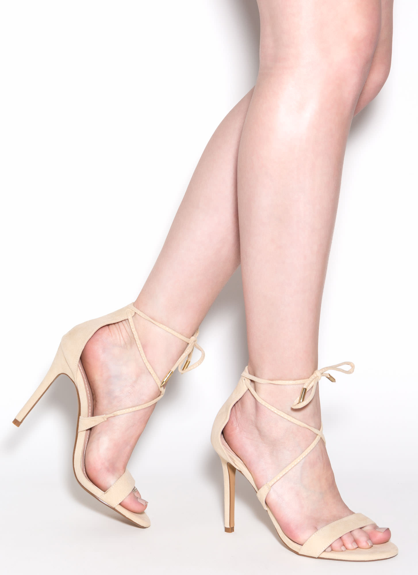 Stepping Out Faux Suede Heels NUDE
