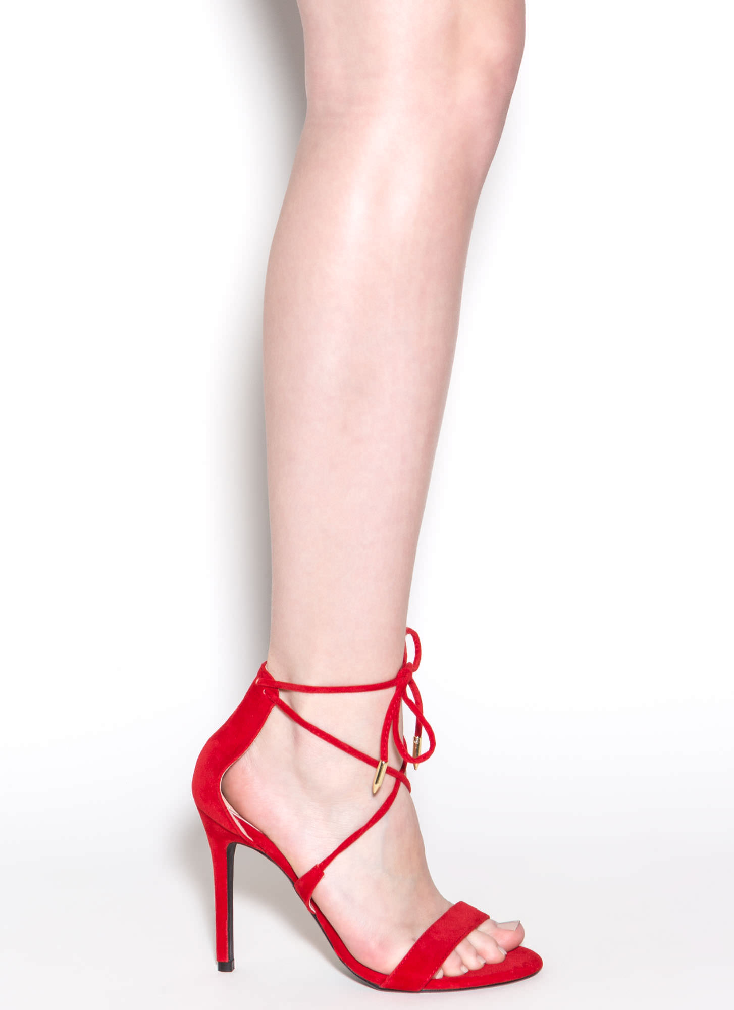 Stepping Out Faux Suede Heels RED