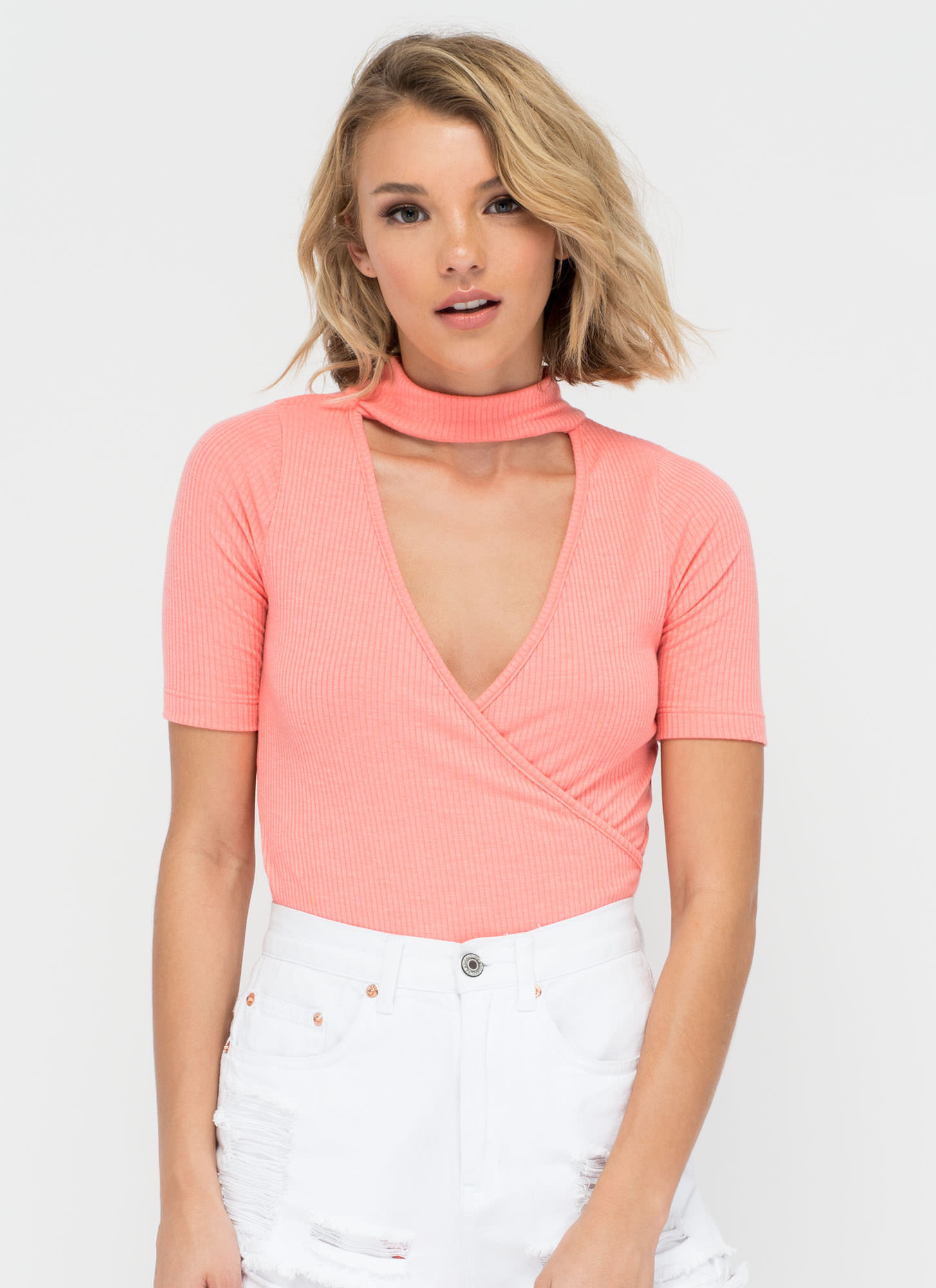 Get Collared Plunging Surplice Bodysuit PINK