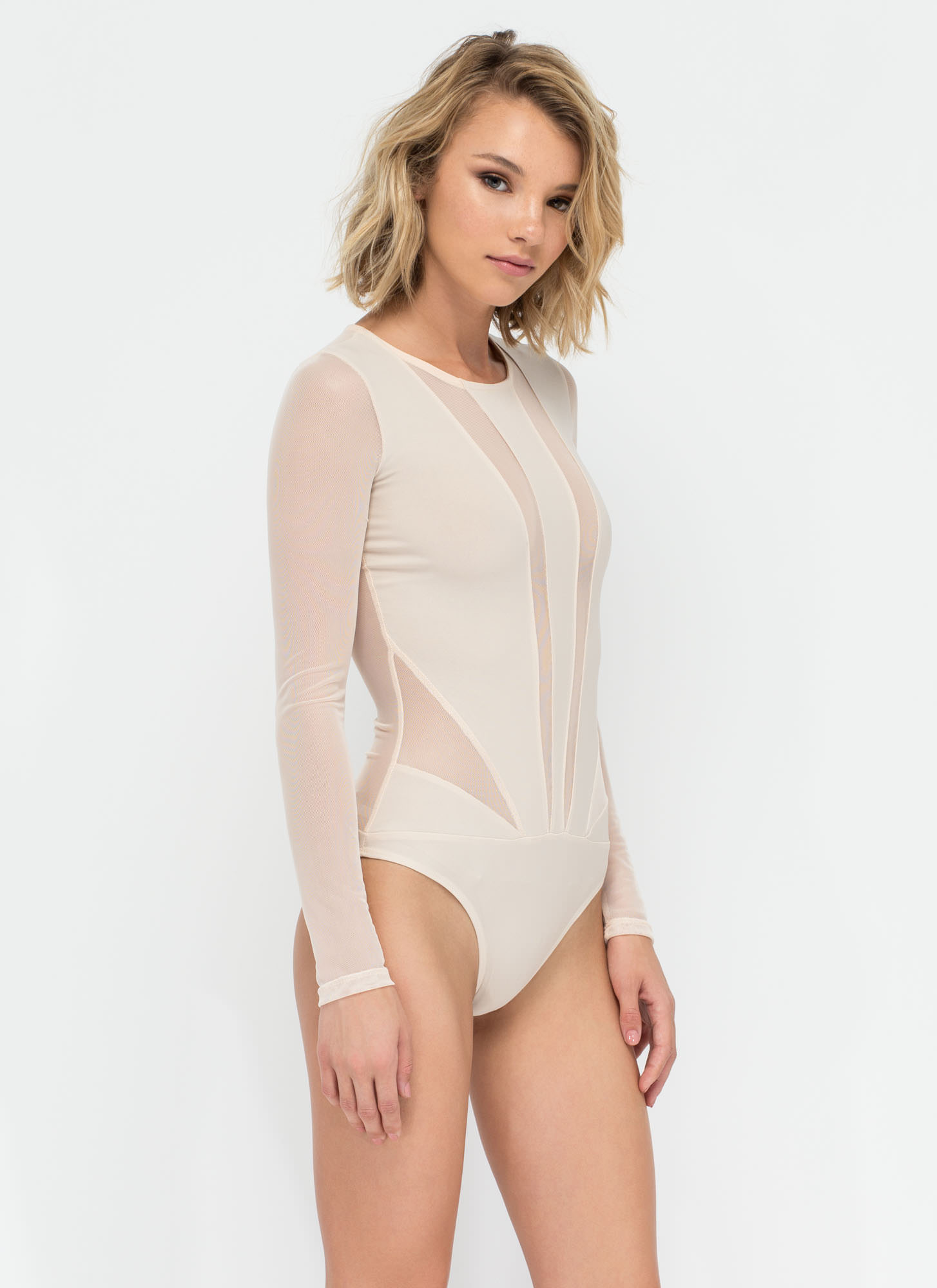 Sheer And There Mesh Contrast Bodysuit NUDE