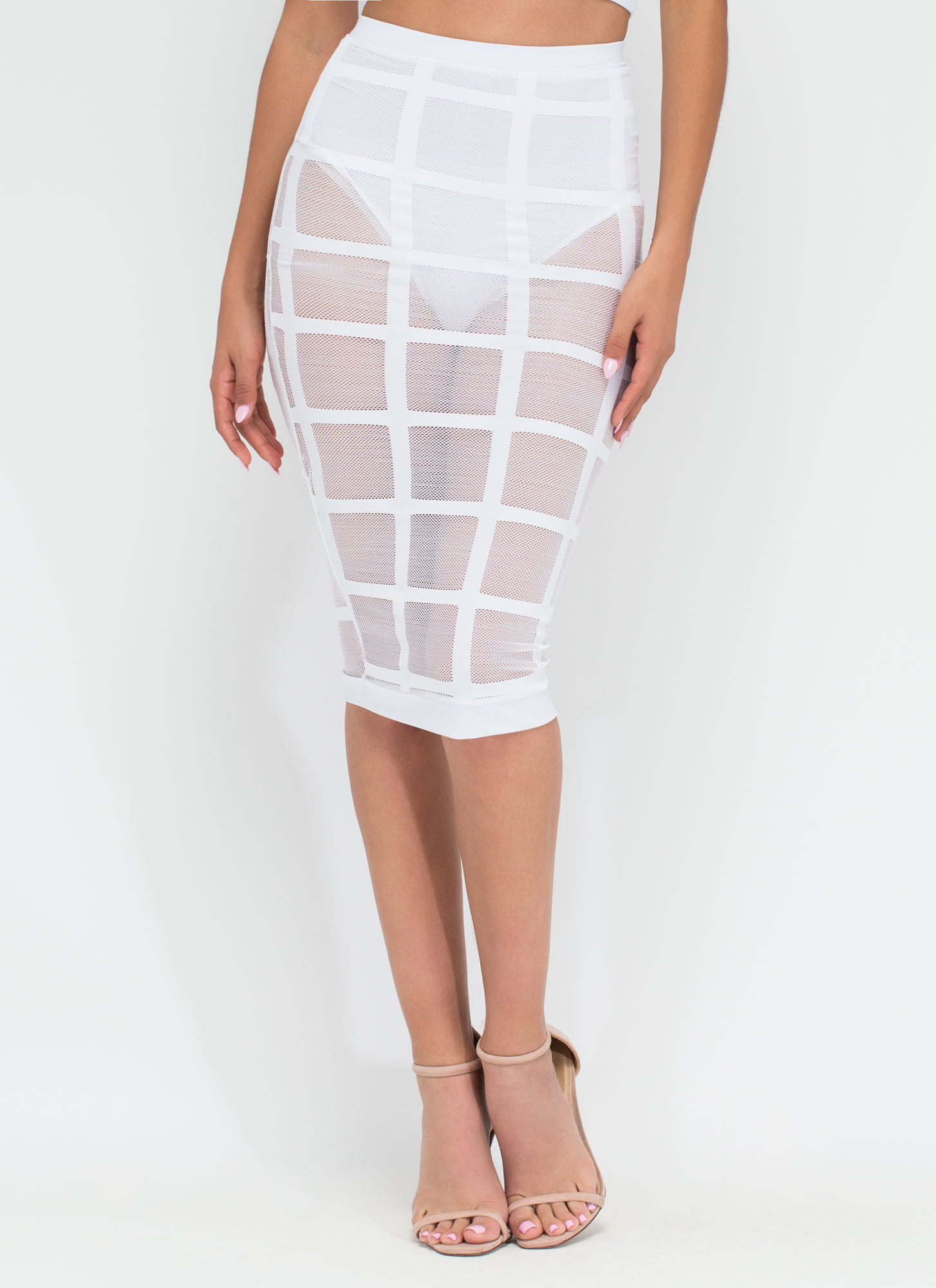 Grid Minds Sheer Pencil Skirt WHITE