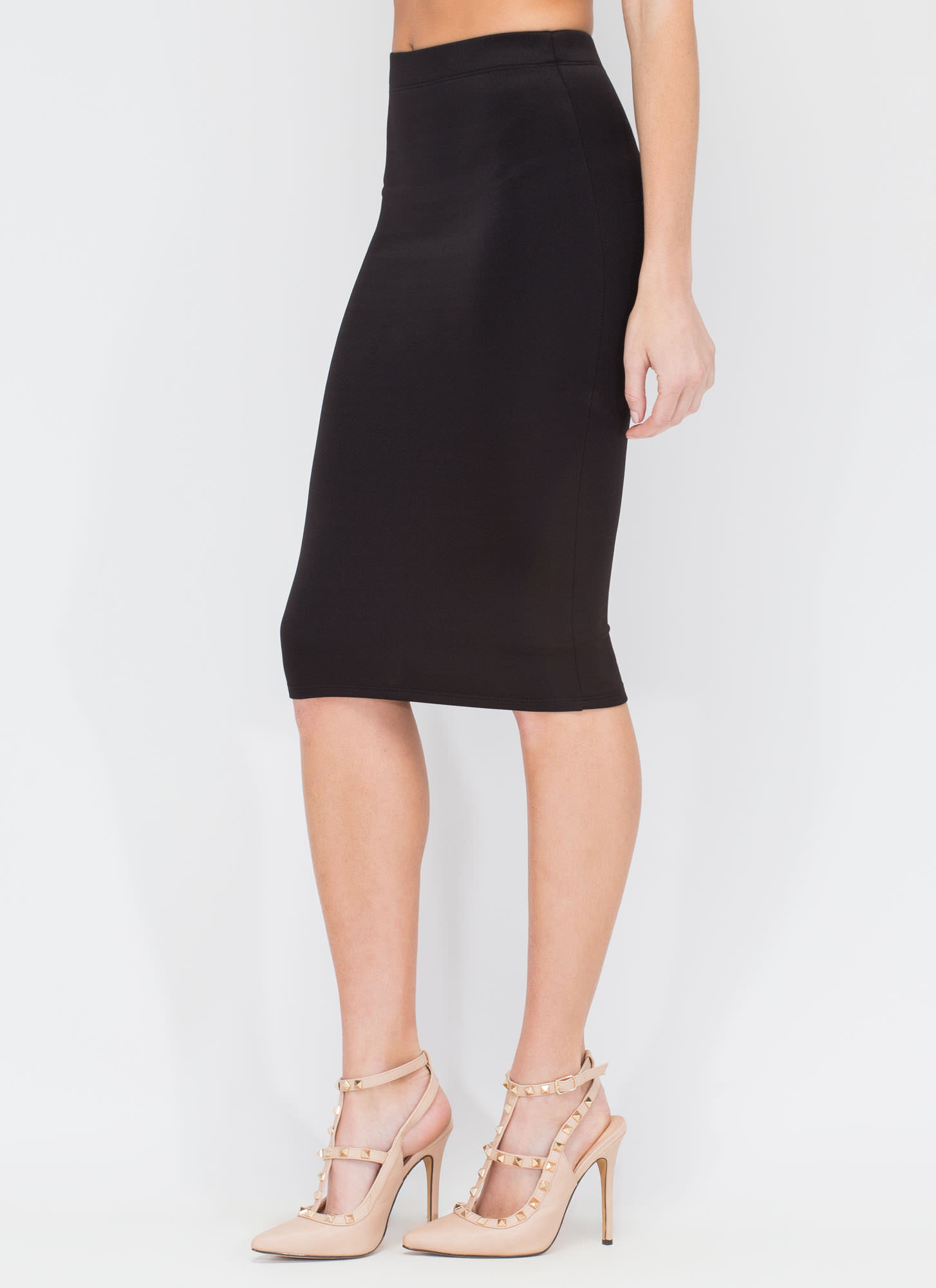 Smooth Things Over Midi Pencil Skirt BLACK