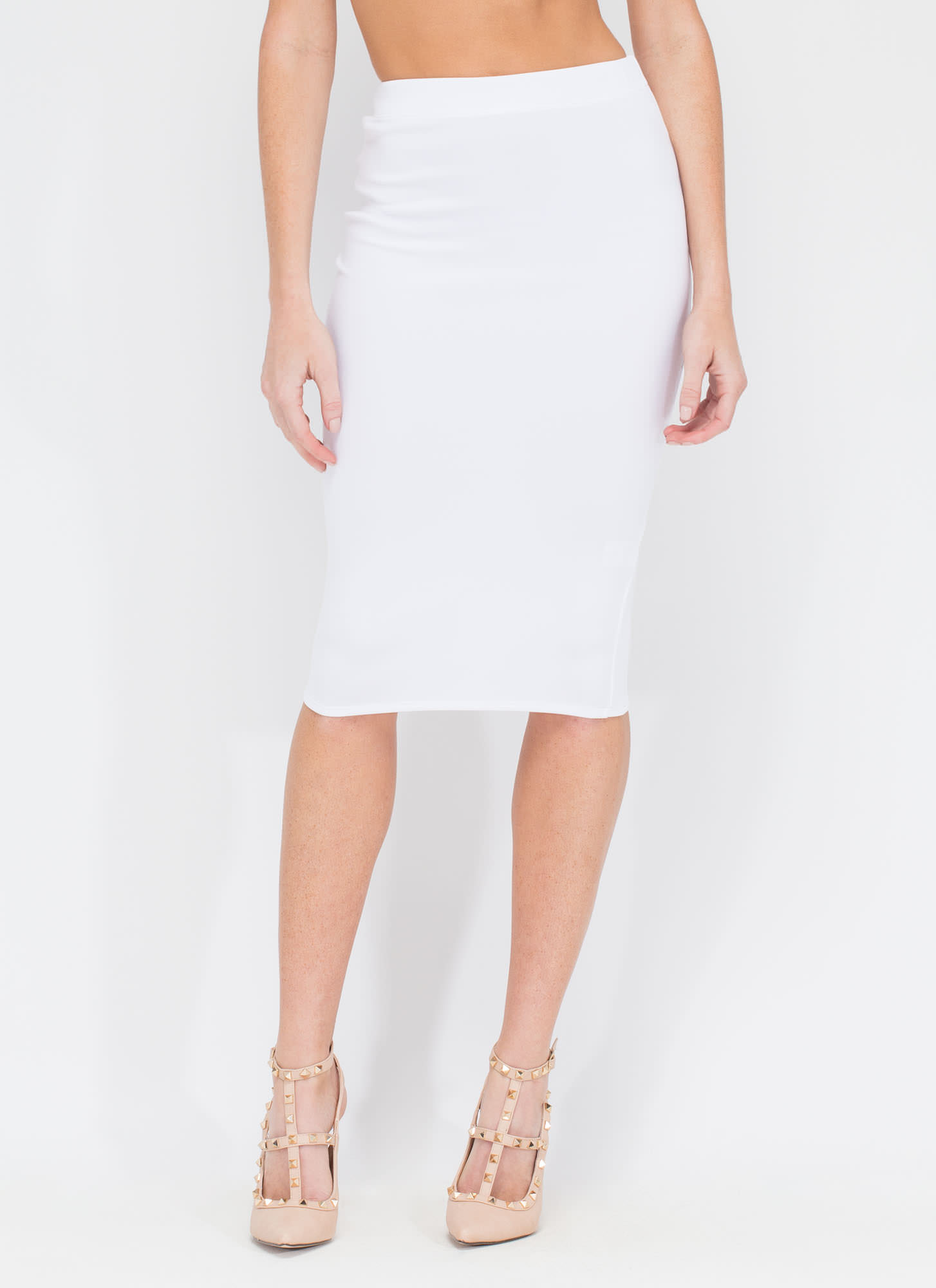 Smooth Things Over Midi Pencil Skirt WHITE
