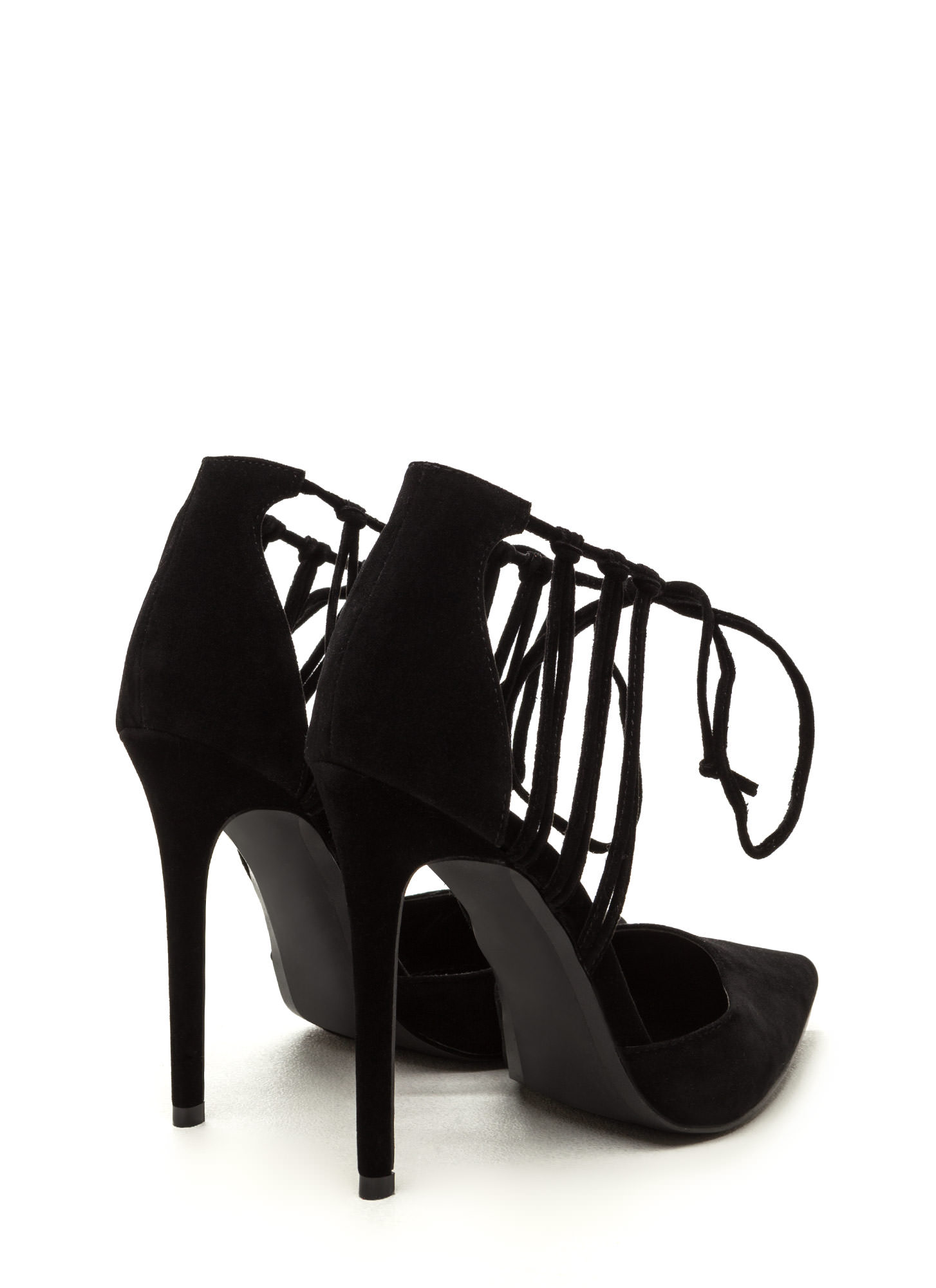 Top Of The List Pointy Strappy Heels BLACK