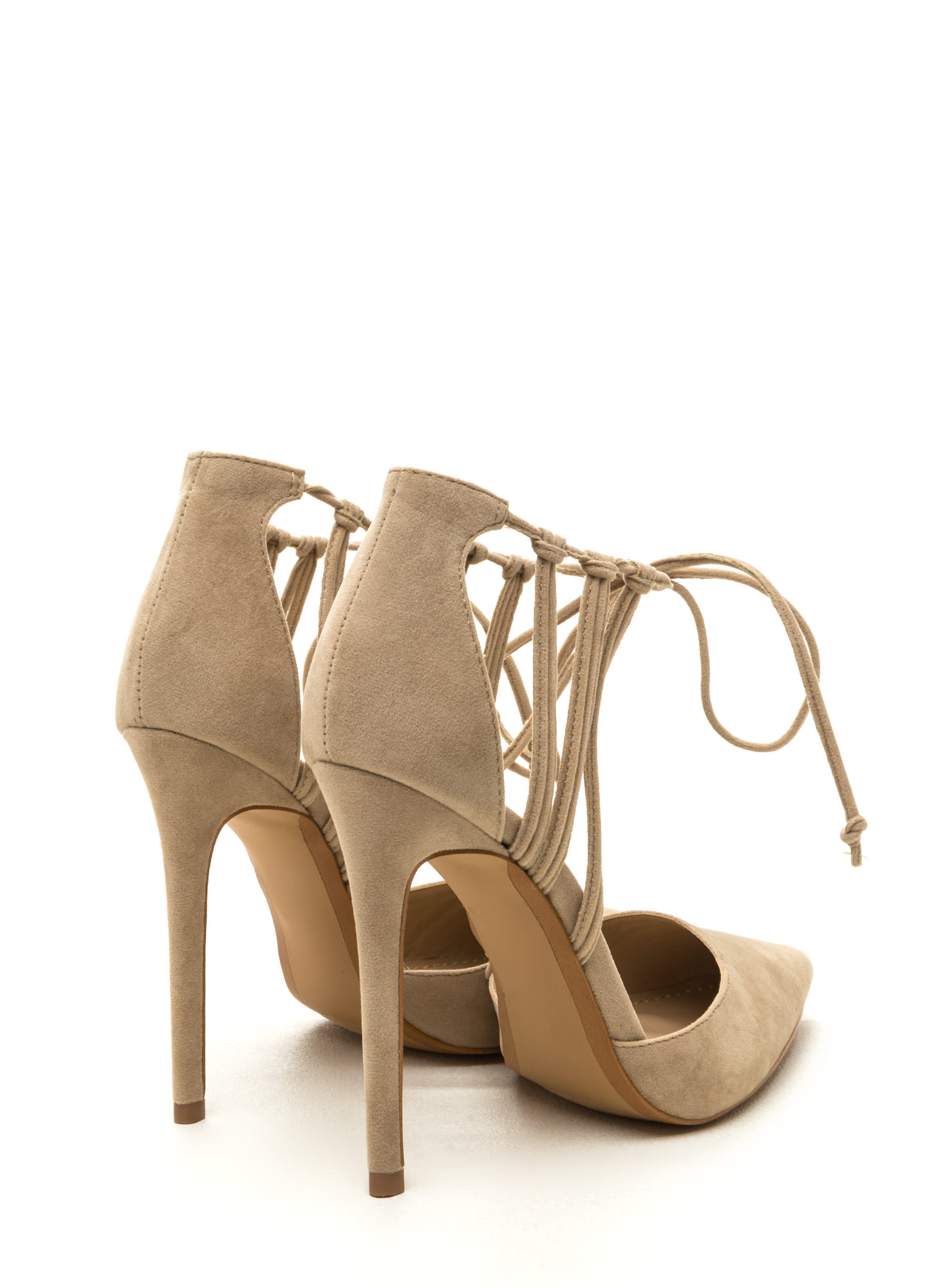 Top Of The List Pointy Strappy Heels NUDE