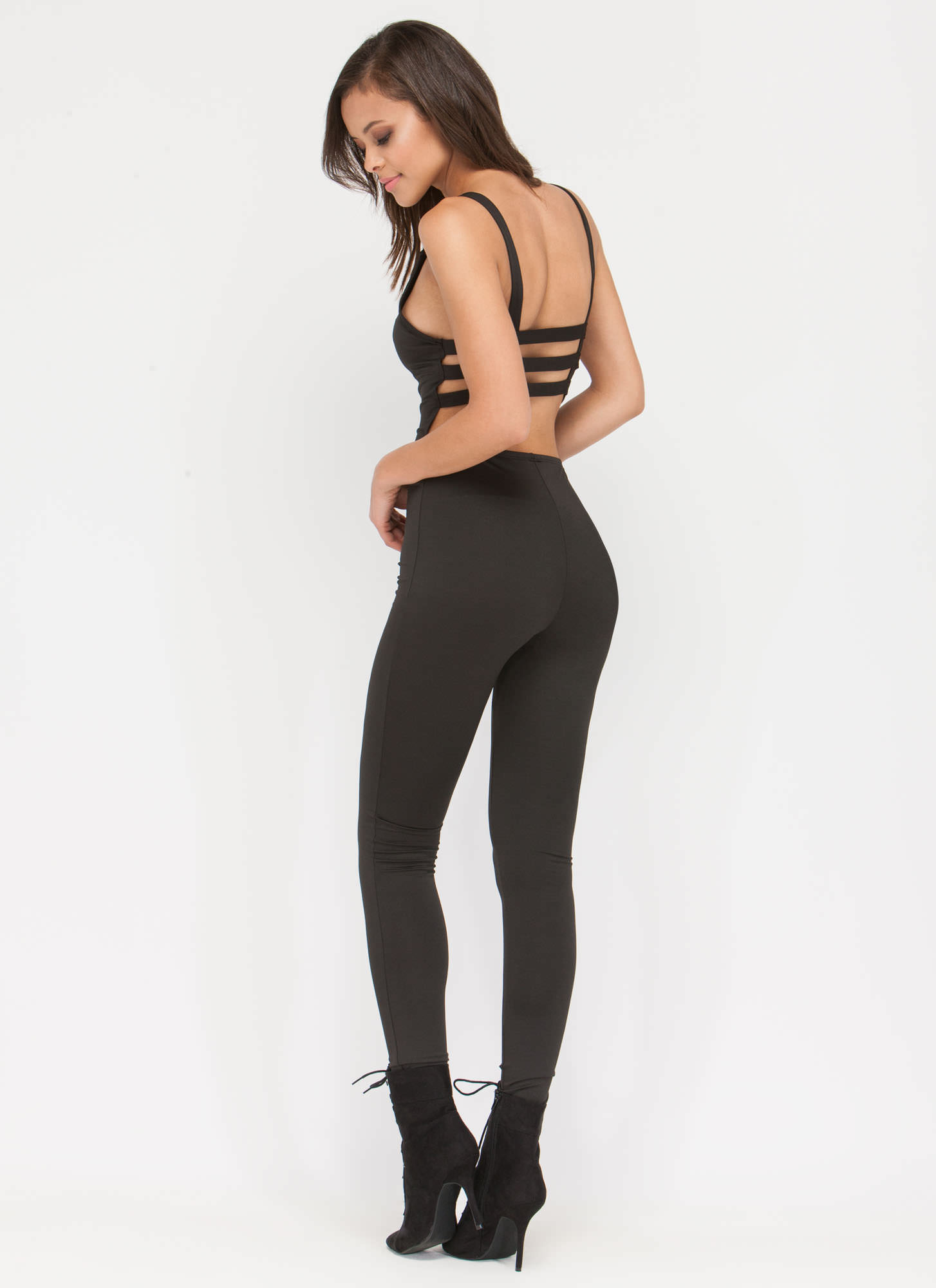 Hear The Scoop Caged Jumpsuit BLACK