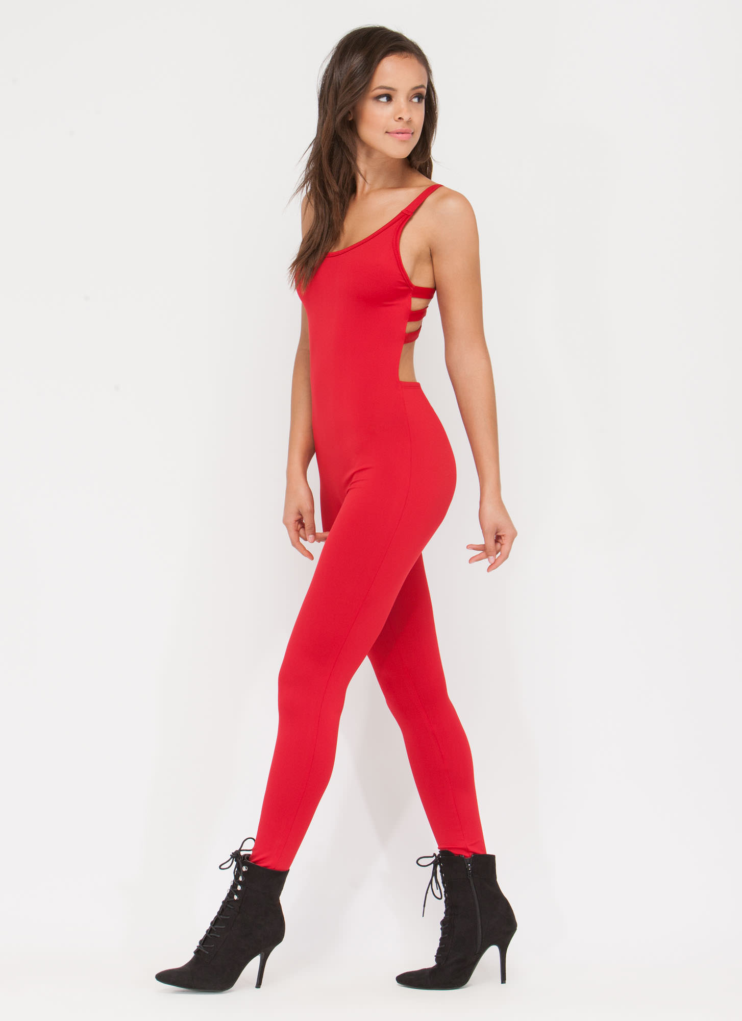 Hear The Scoop Caged Jumpsuit RED