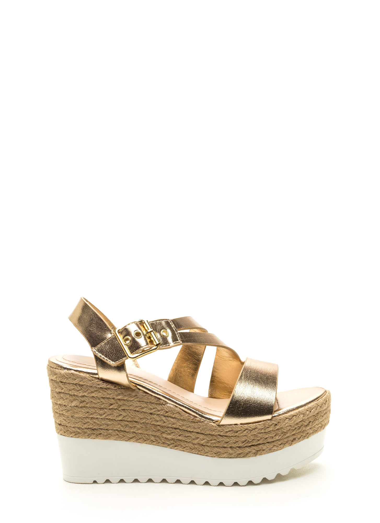 Long Weekend Metallic Wedges GOLD