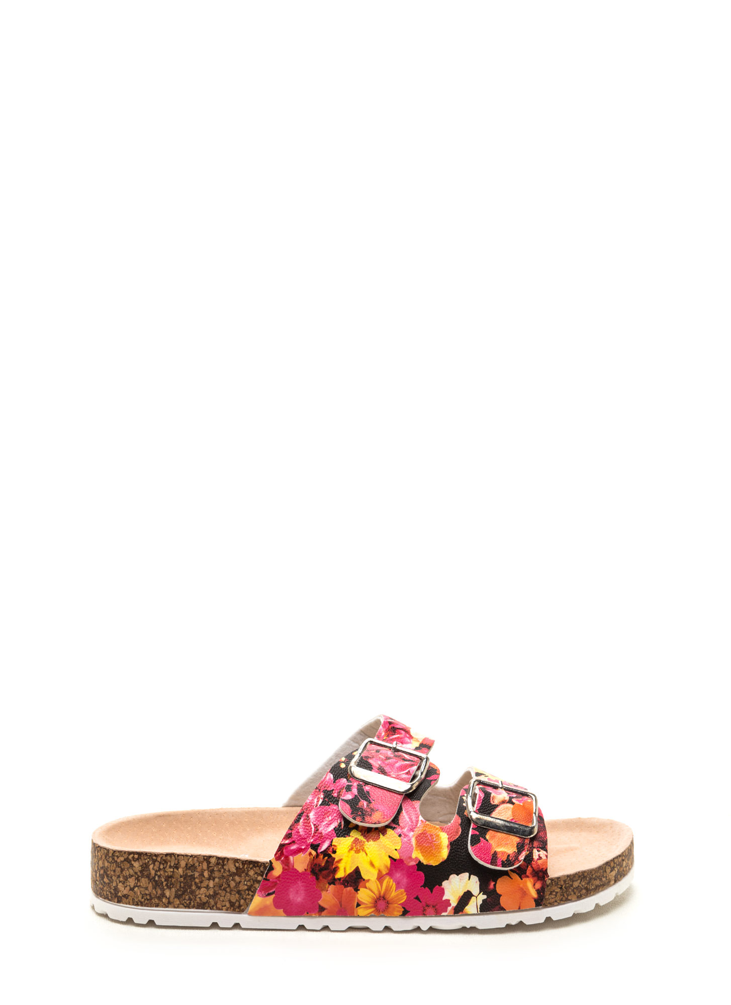 Two Become One Floral Slide Sandals BLACK