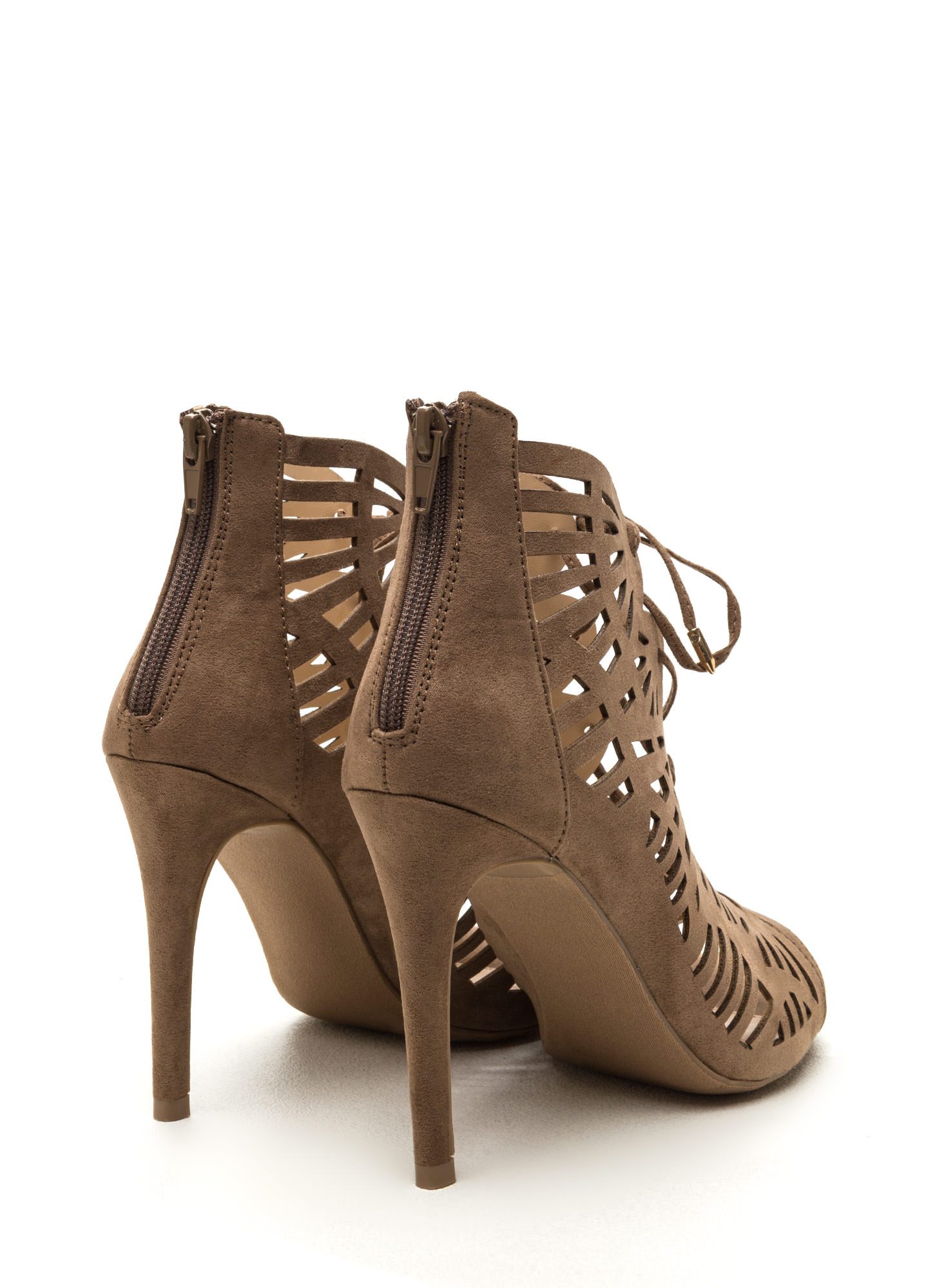 Take A Peek Cut-Out Lace-Up Heels TAUPE