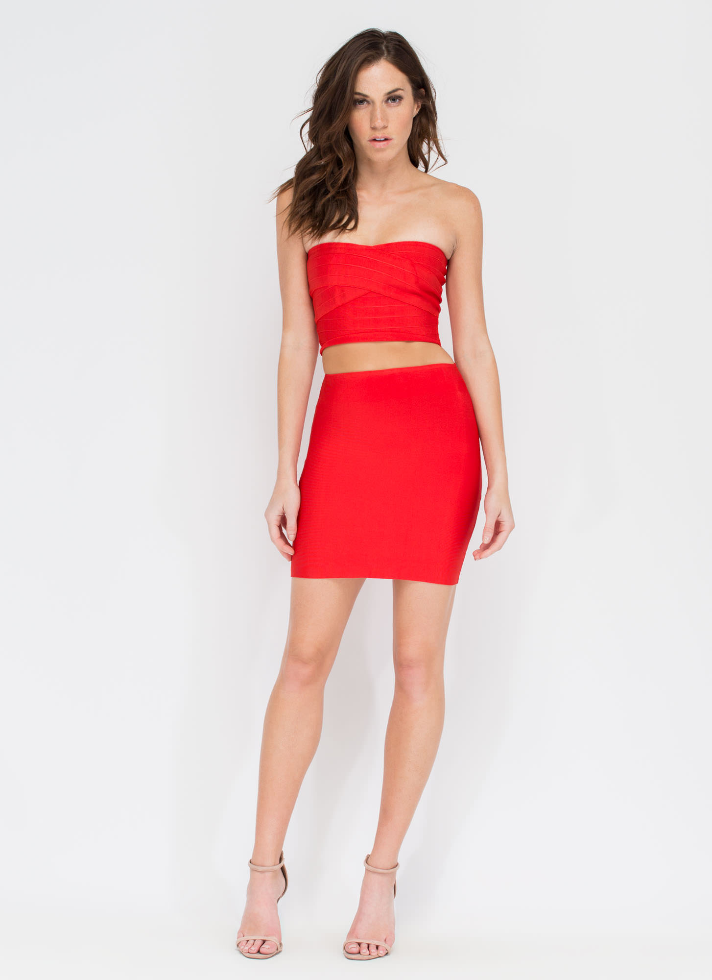 Solid Work Mini Skirt RED
