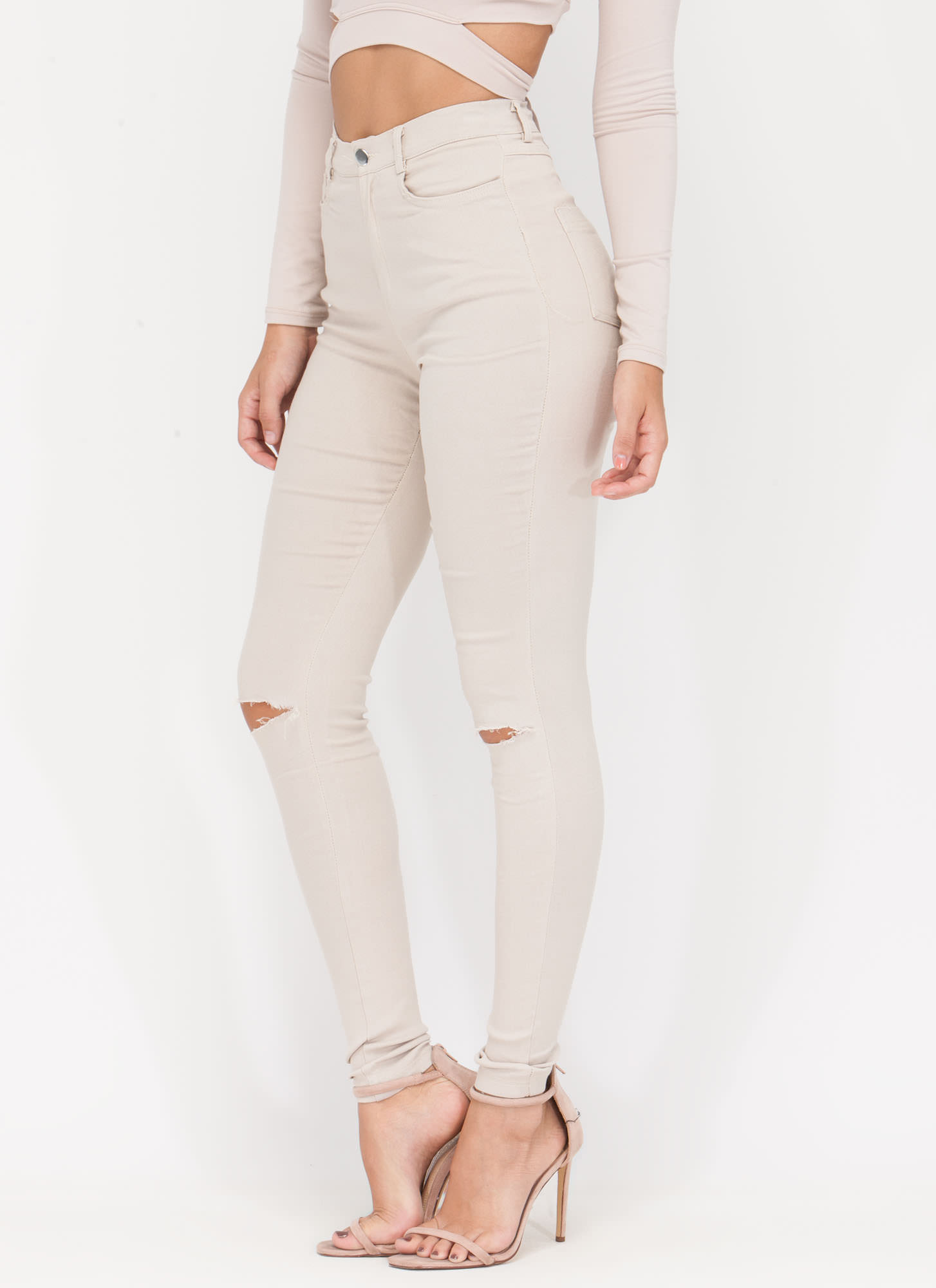Stylish Simplicity Slit Jeggings KHAKI