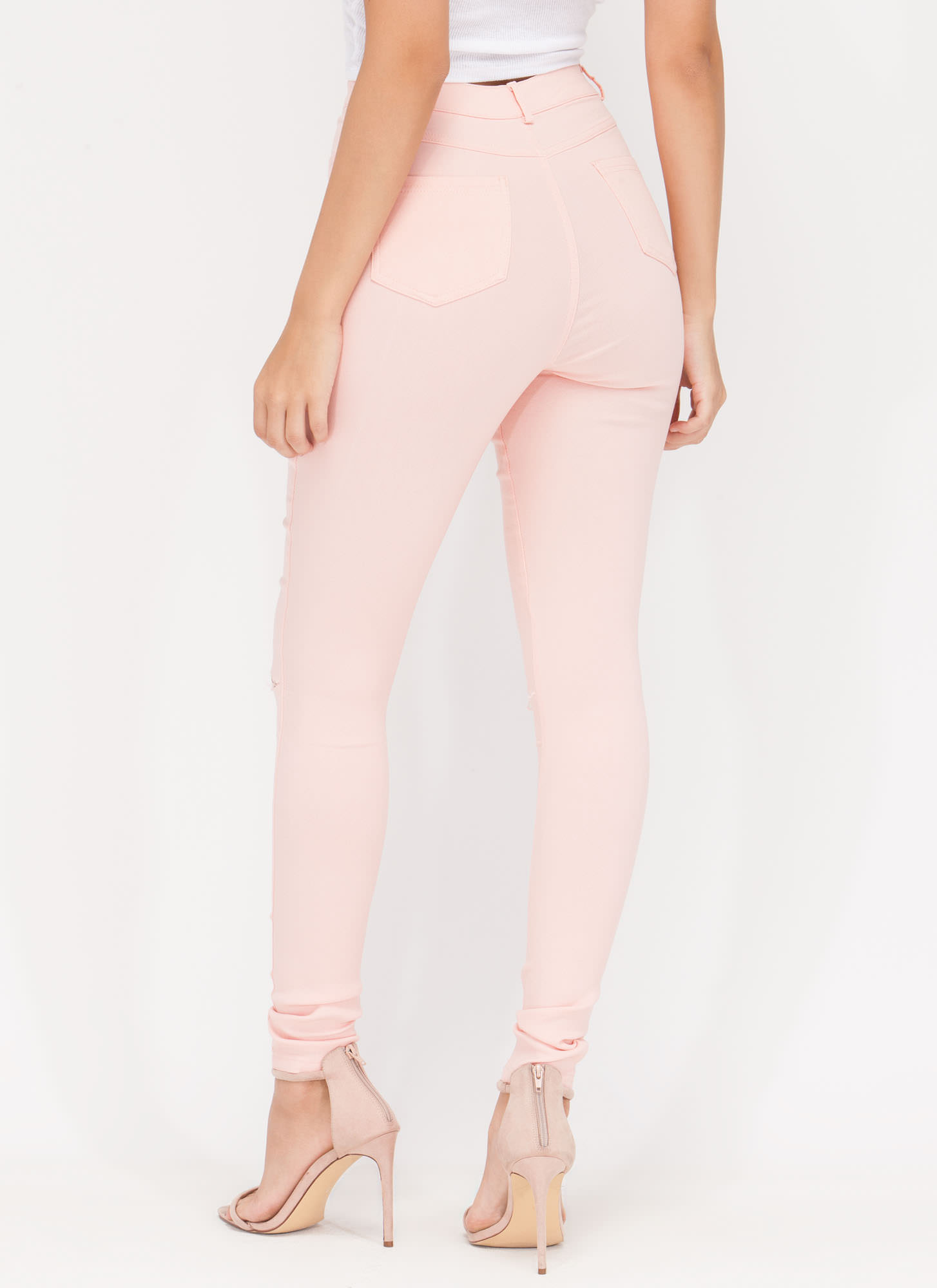 Stylish Simplicity Slit Jeggings PEACH