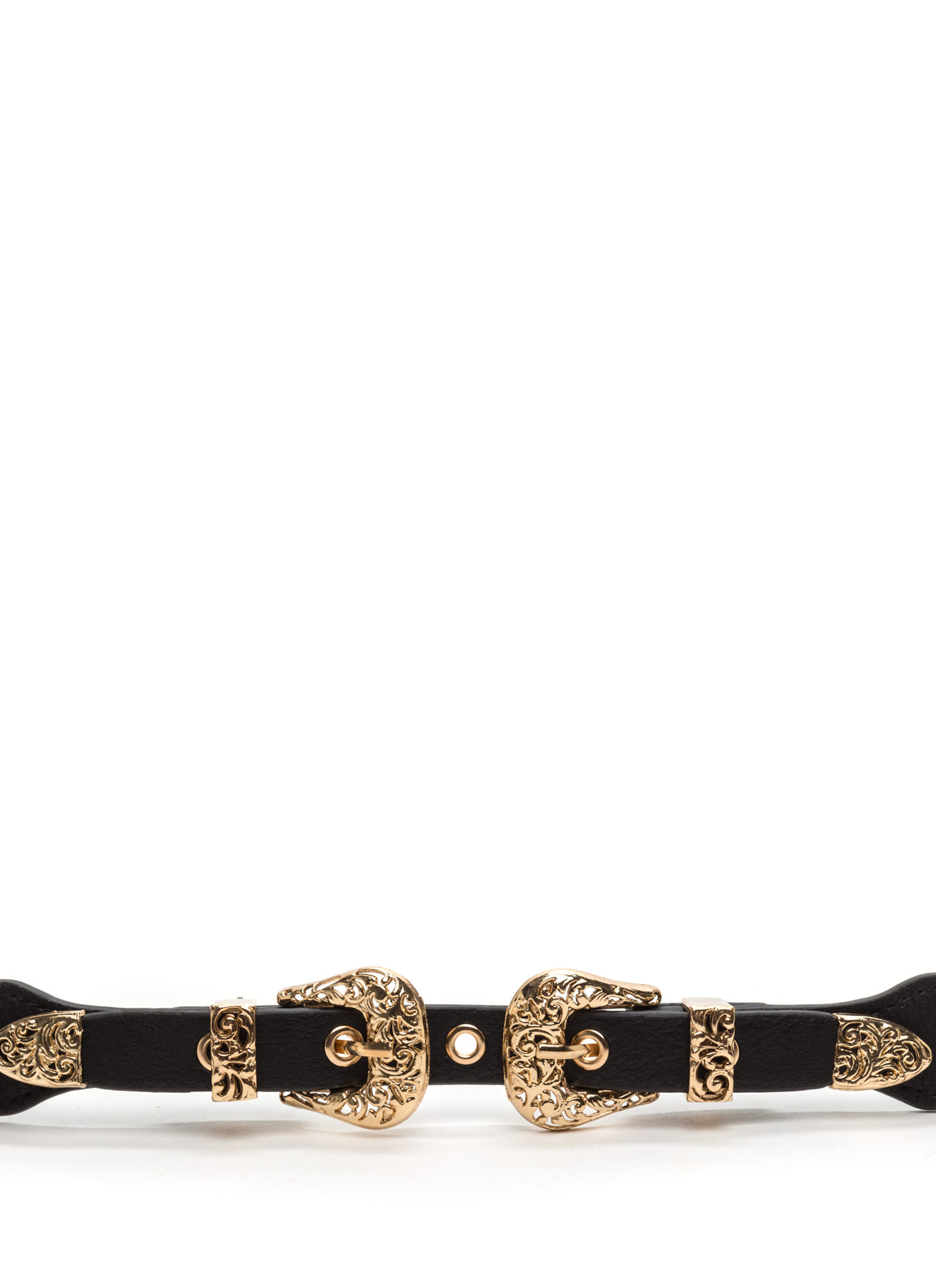 Style Bandit Stretchy Double Buckle Belt BLACKGOLD