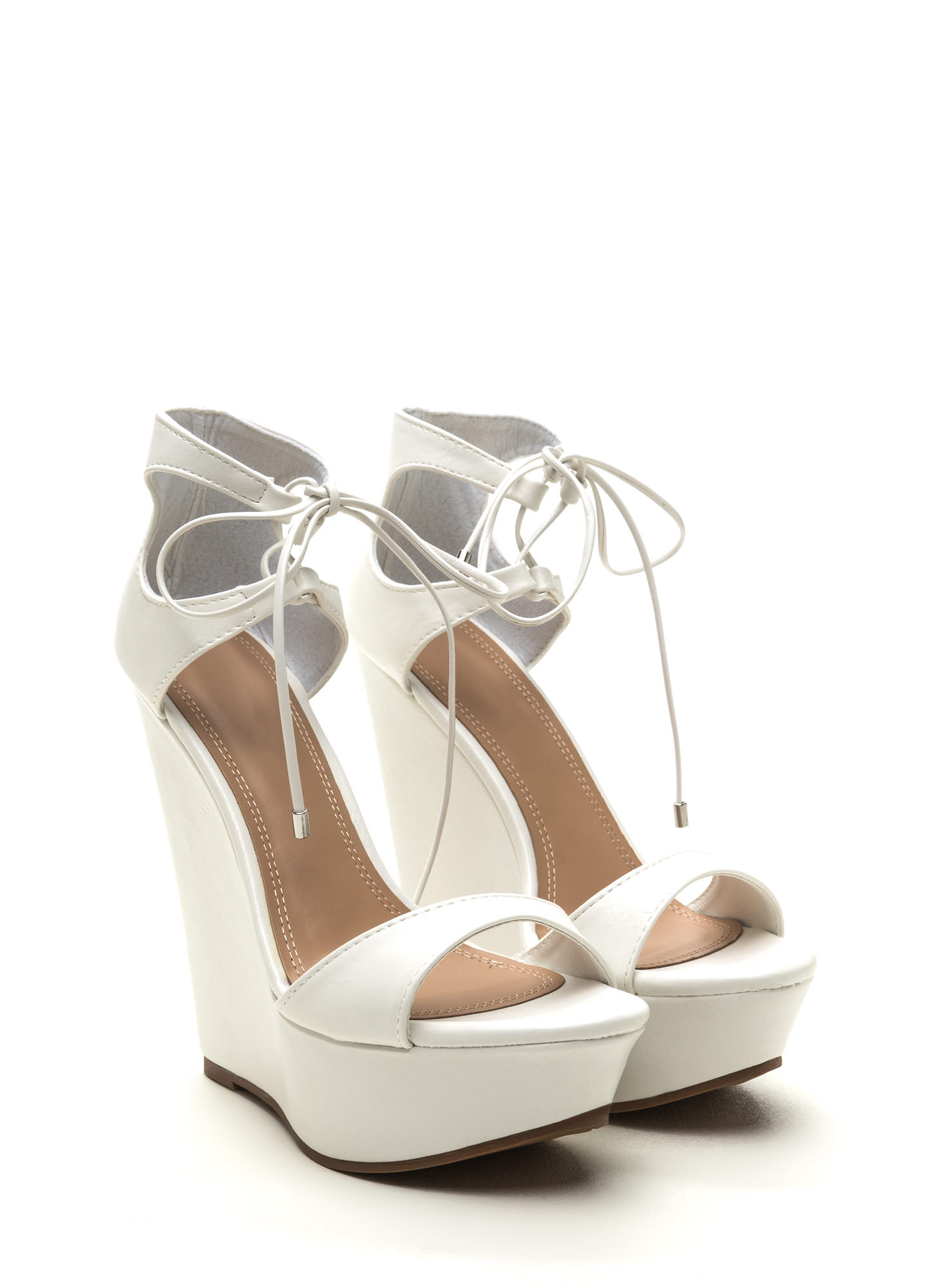 Confident Strut Lace-Up Platform Wedges WHITE