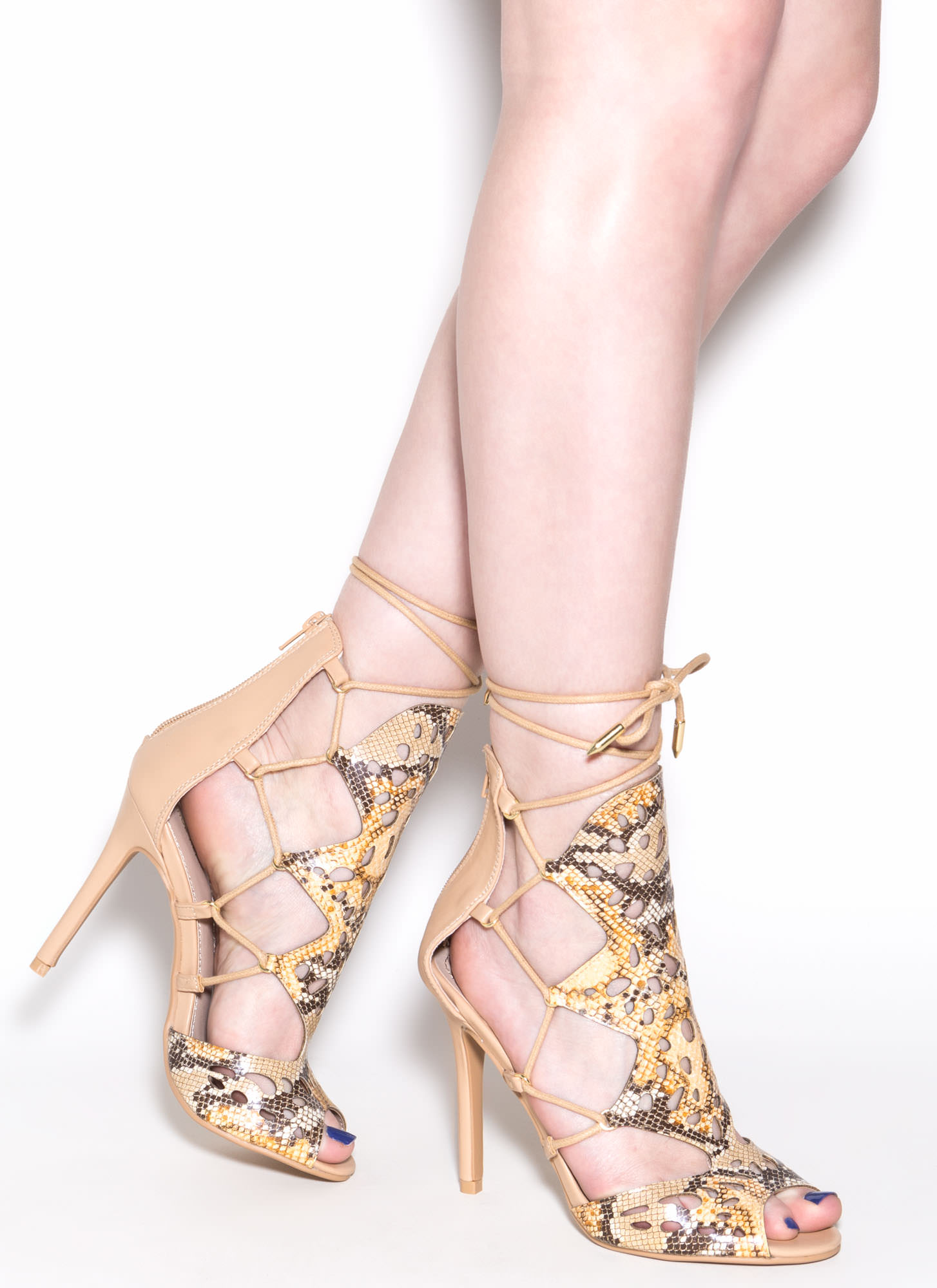 Slither In Faux Snakeskin Heels CAMEL
