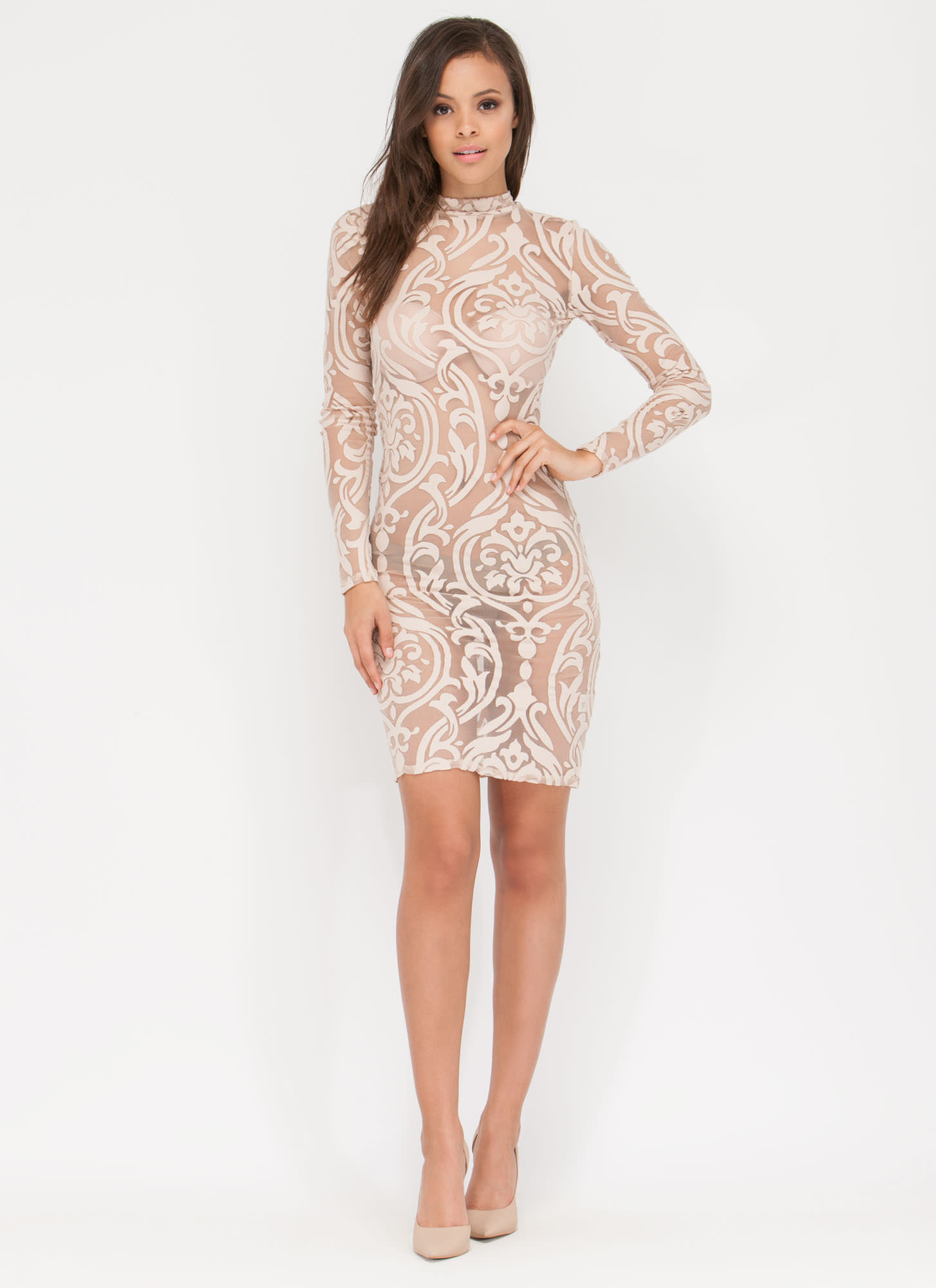 That Filigree Feeling Sheer Dress TAUPE