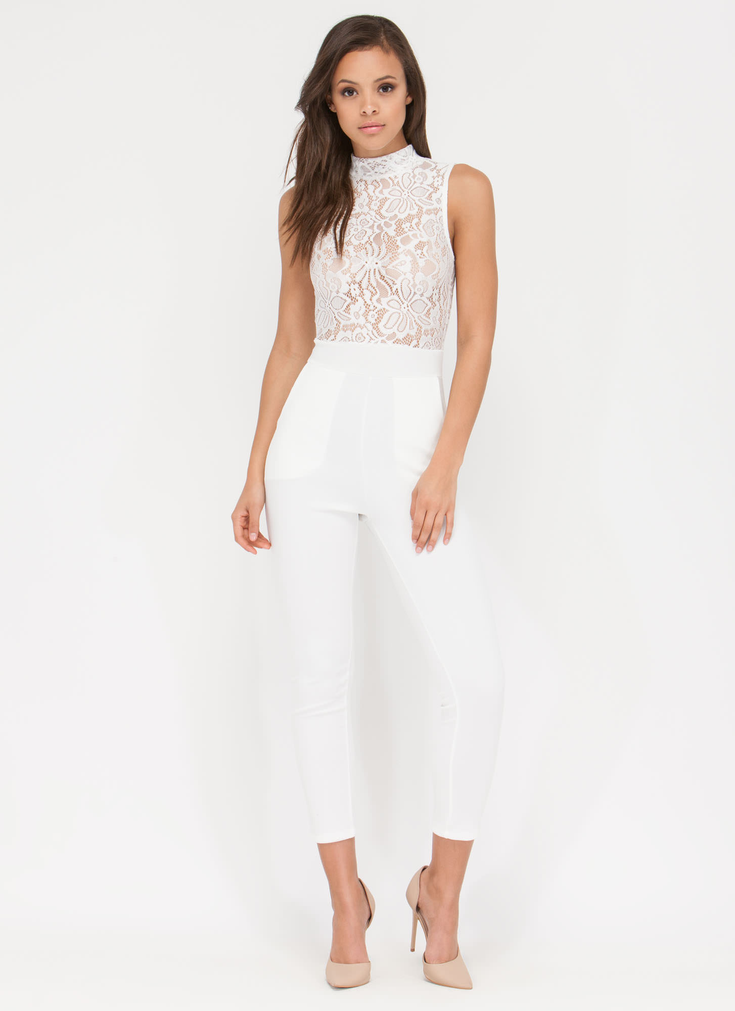 Red Carpet Ready Sheer Jumpsuit WHITE