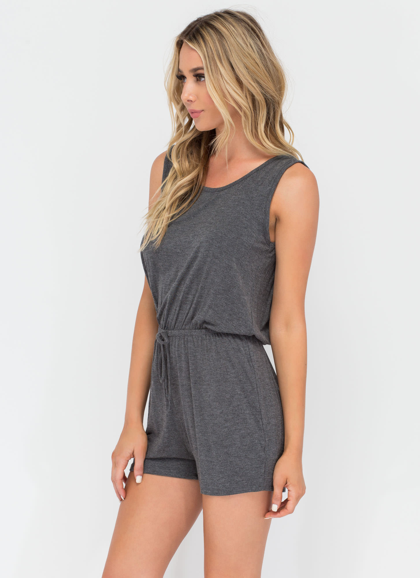Easy Going Knit Romper CHARCOAL (Final Sale)