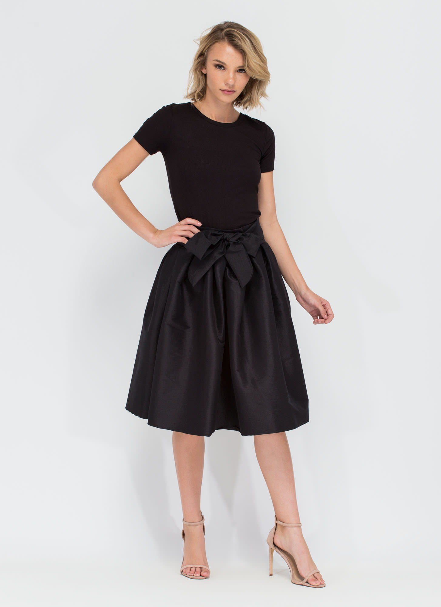 Ladies Who Lunch Flared Pleated Skirt BLACK