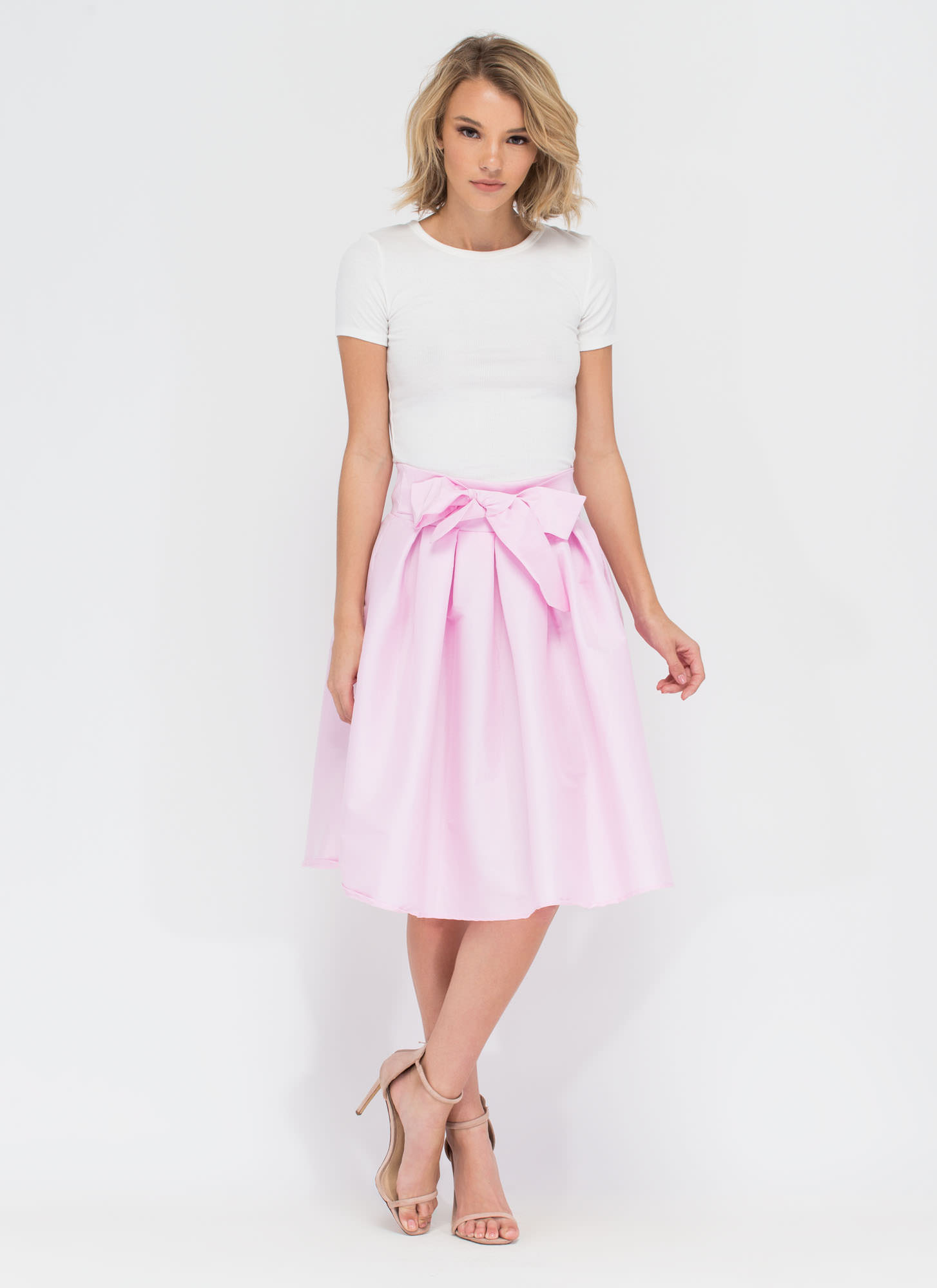Ladies Who Lunch Flared Pleated Skirt BLUSH