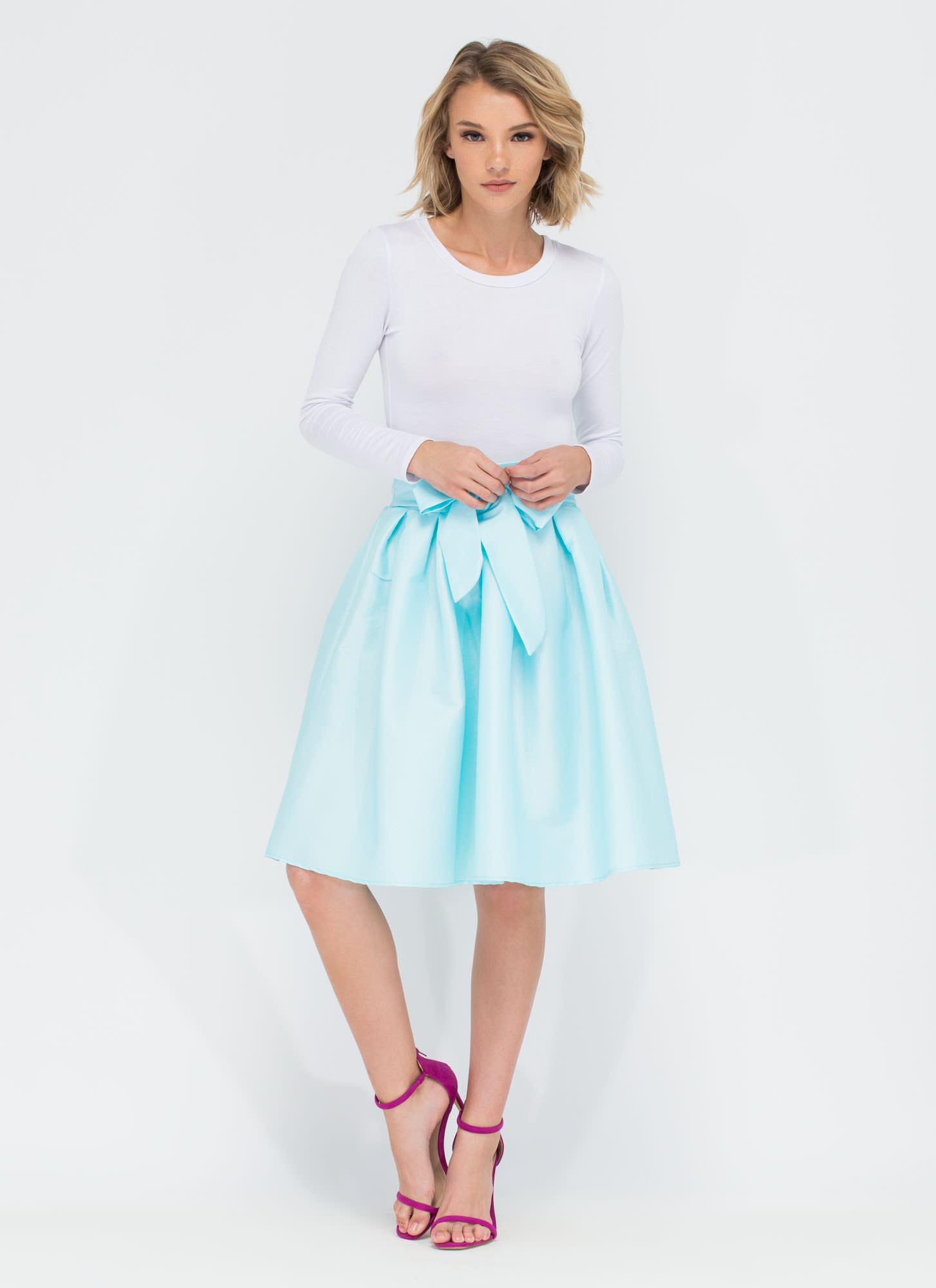 Ladies Who Lunch Flared Pleated Skirt SEAFOAM