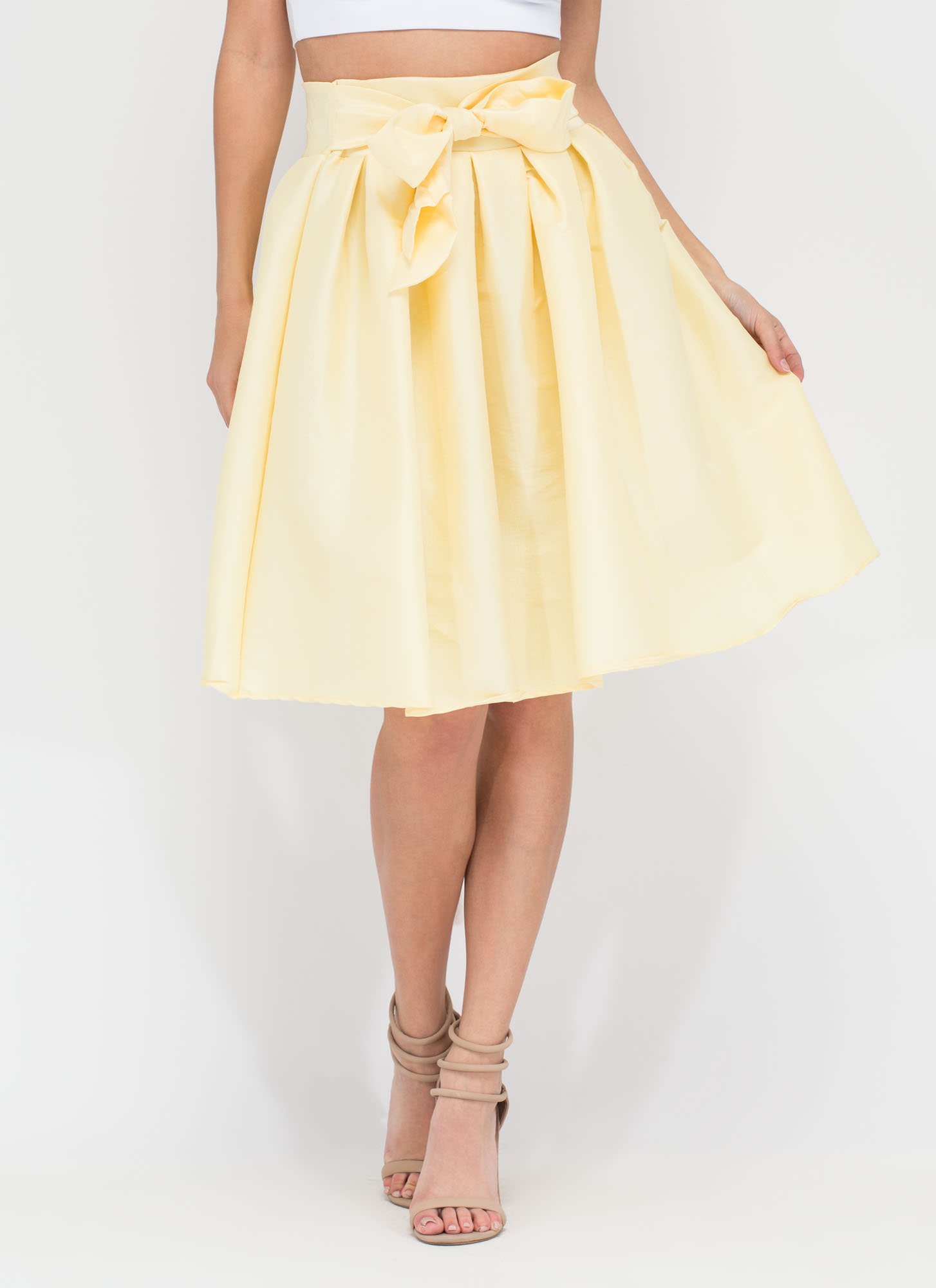 Ladies Who Lunch Flared Pleated Skirt YELLOW