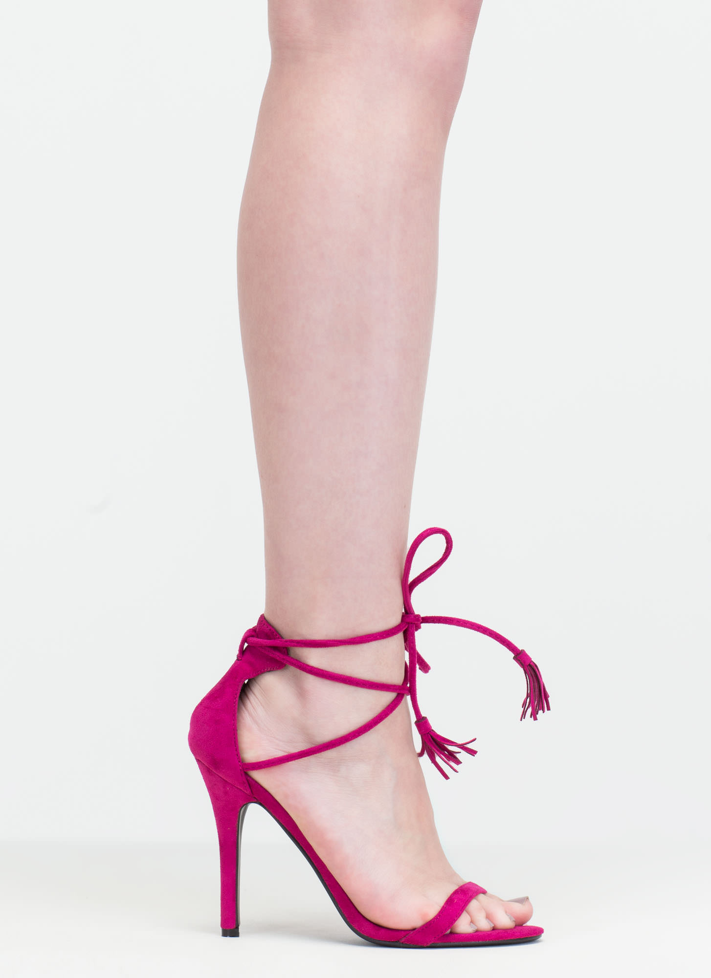 Totally Tied Up Faux Suede Heels BERRY