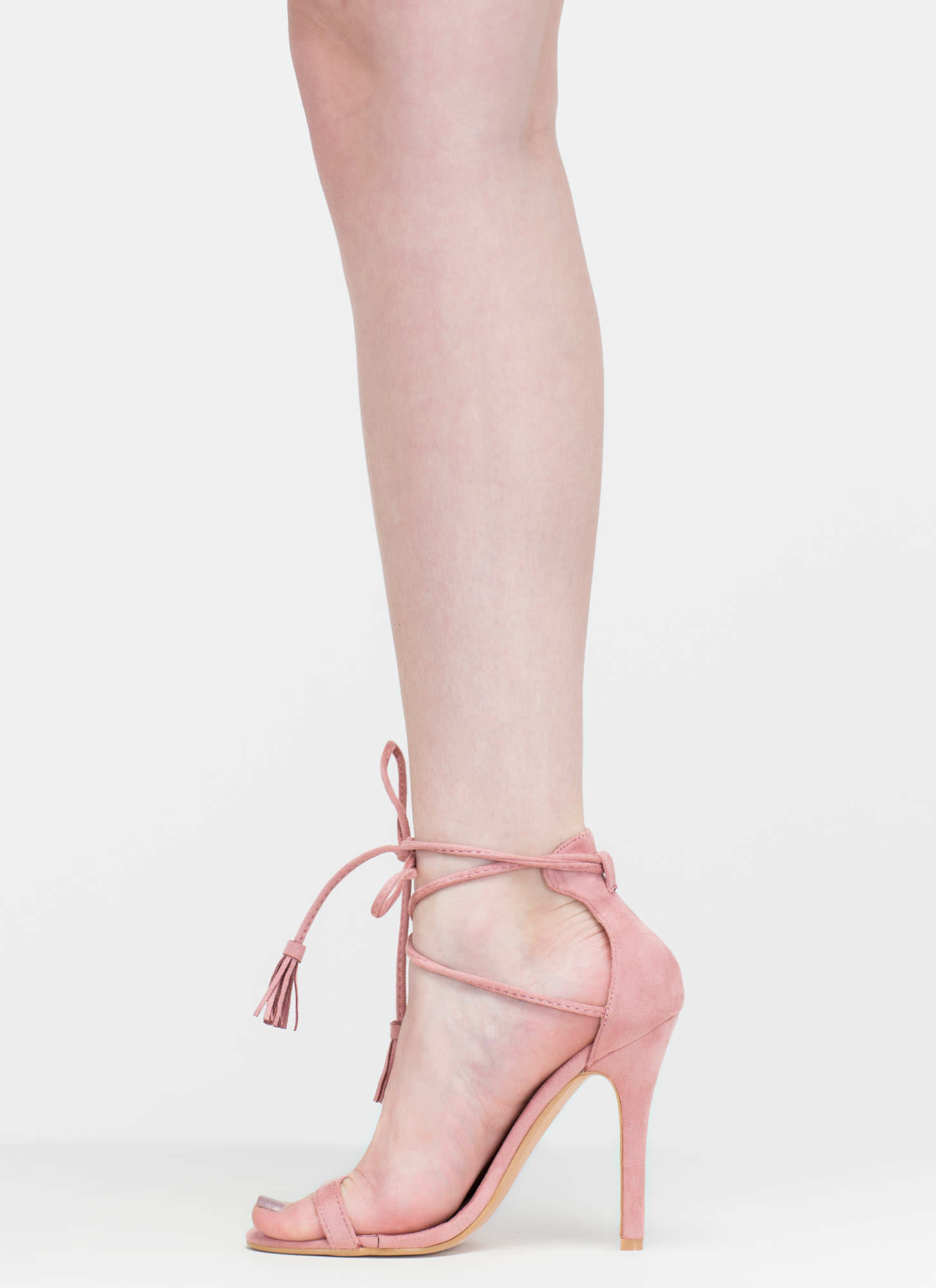 Totally Tied Up Faux Suede Heels BLUSH