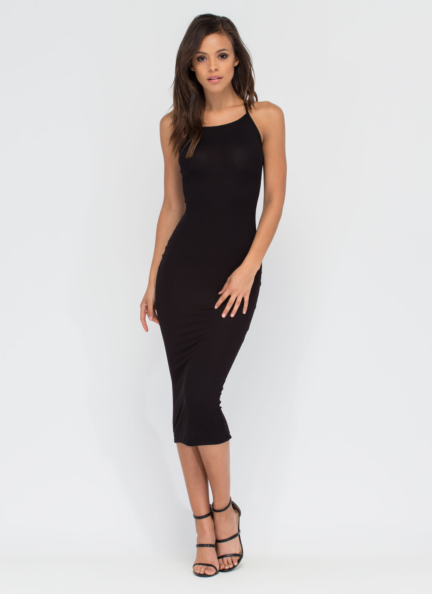 Daily Essential Ribbed Tank Dress BLACK