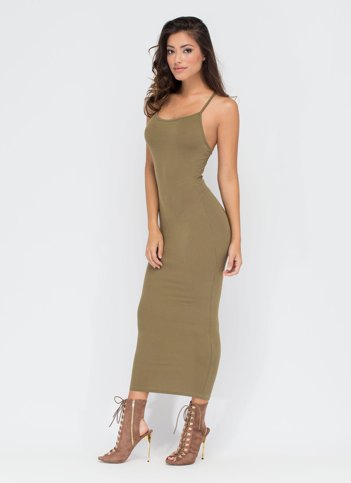 Daily Essential Ribbed Tank Dress OLIVE