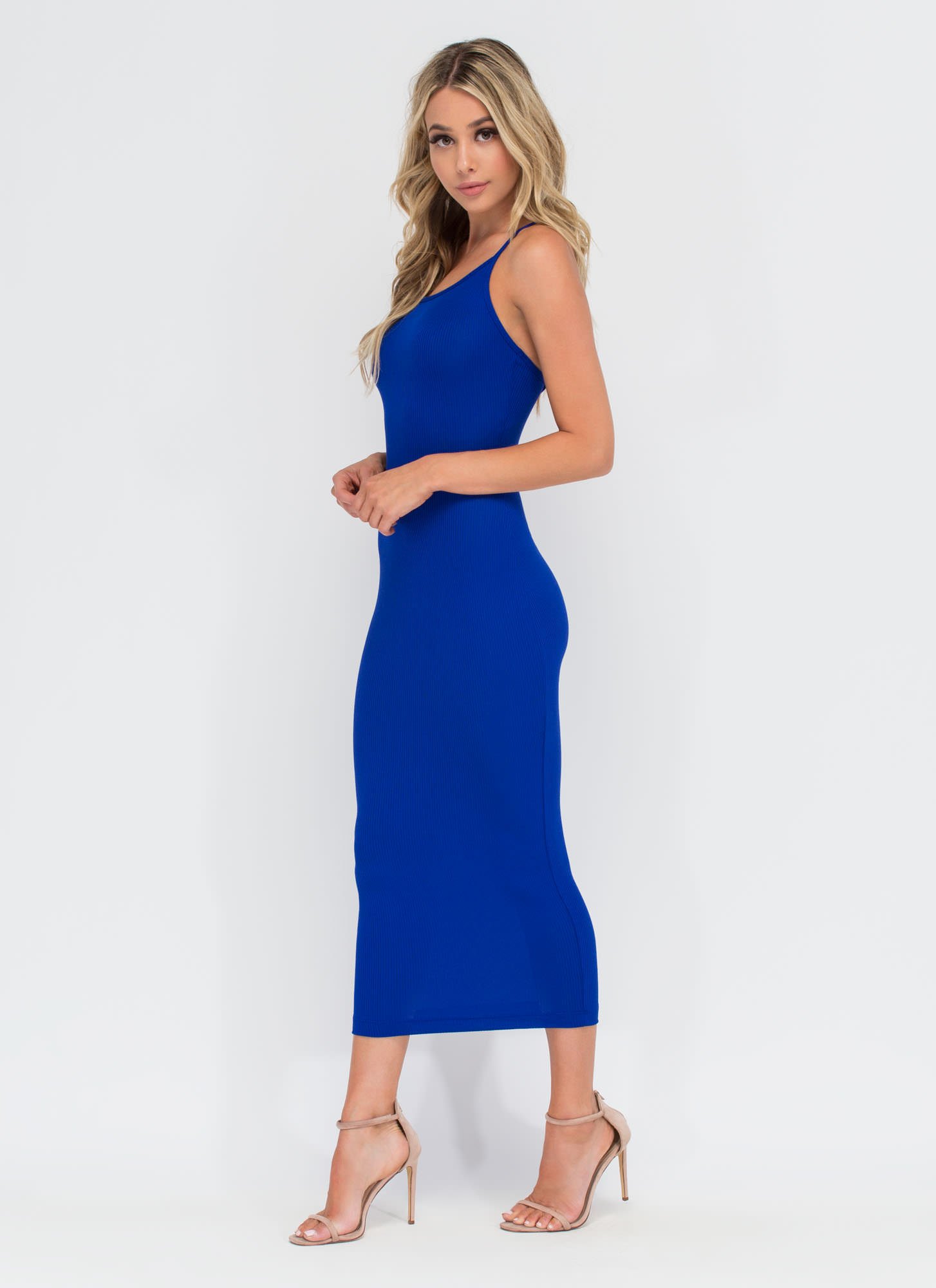 Daily Essential Ribbed Tank Dress ROYAL