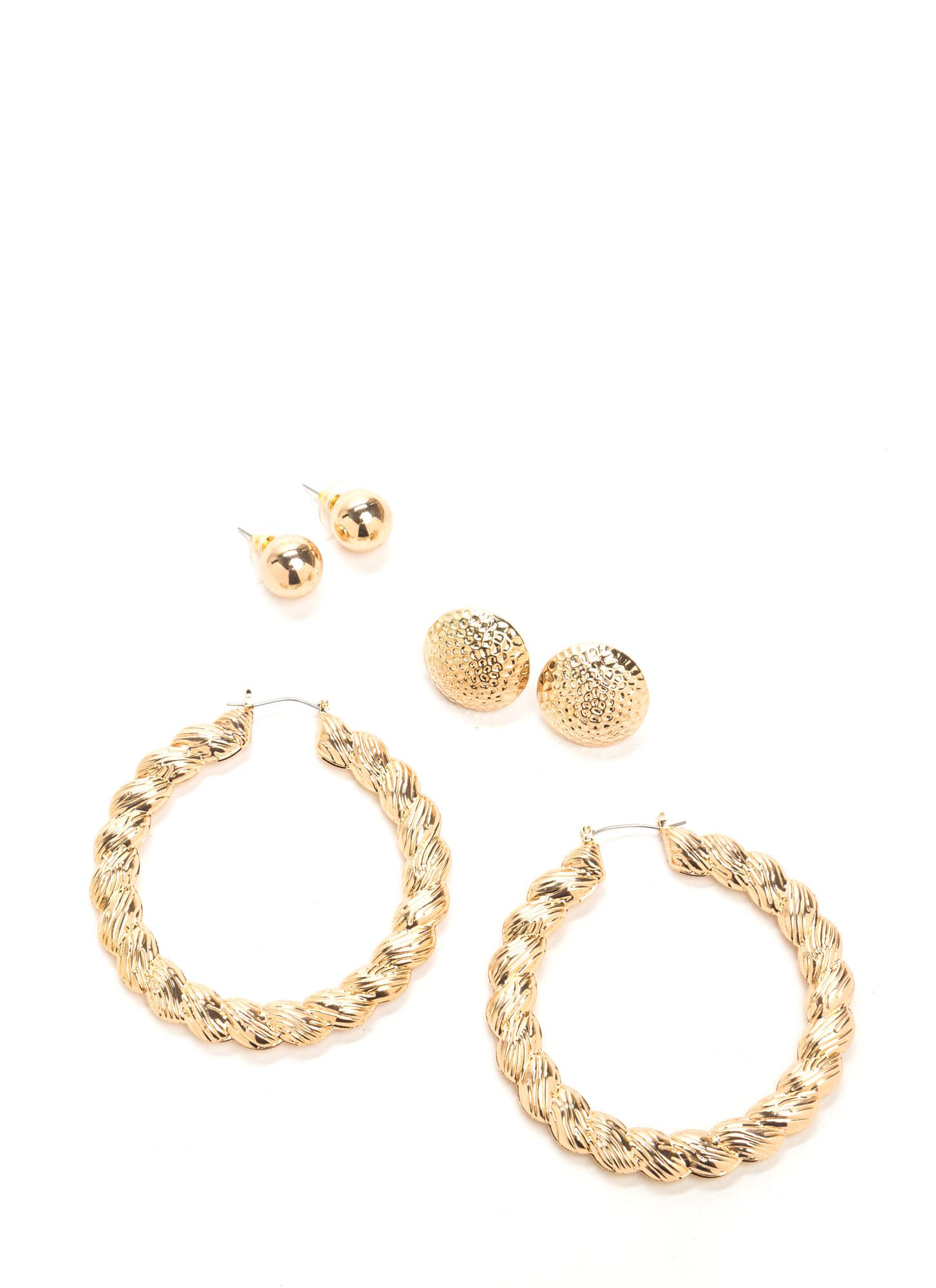 Little Twist Round Earring Set GOLD