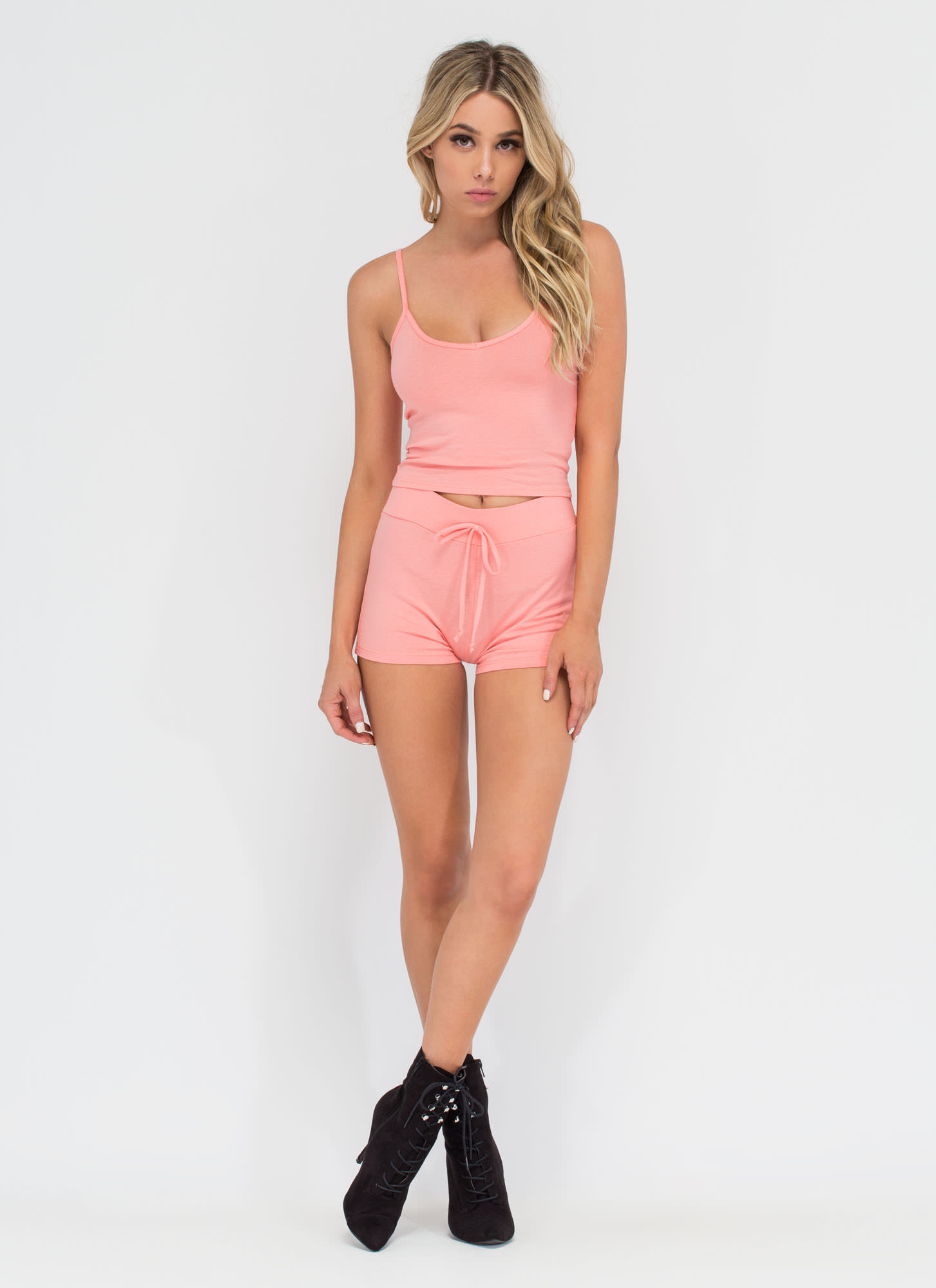 Basic Need Knit Drawstring Shorts BLUSH