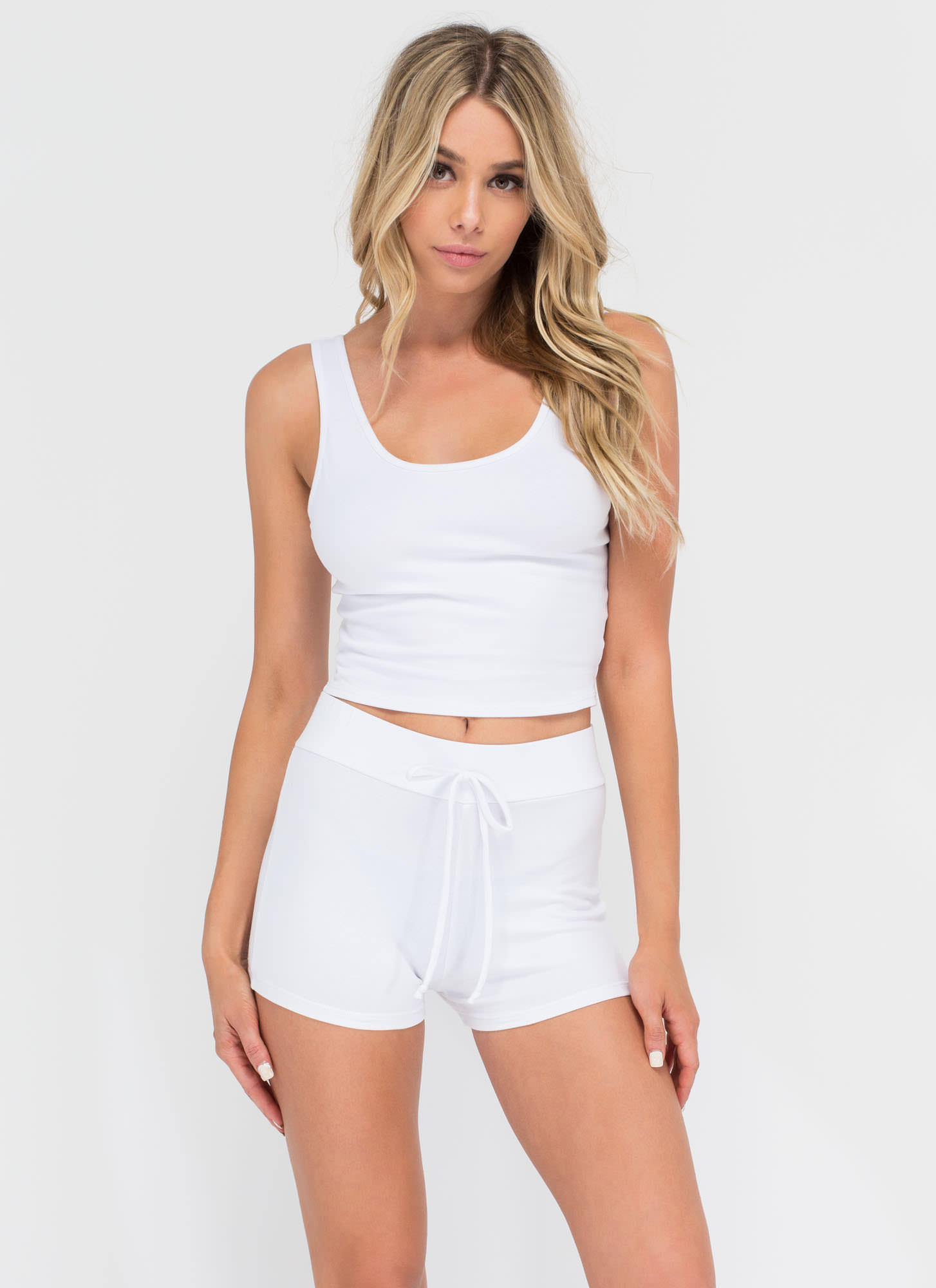 Basic Need Knit Drawstring Shorts WHITE