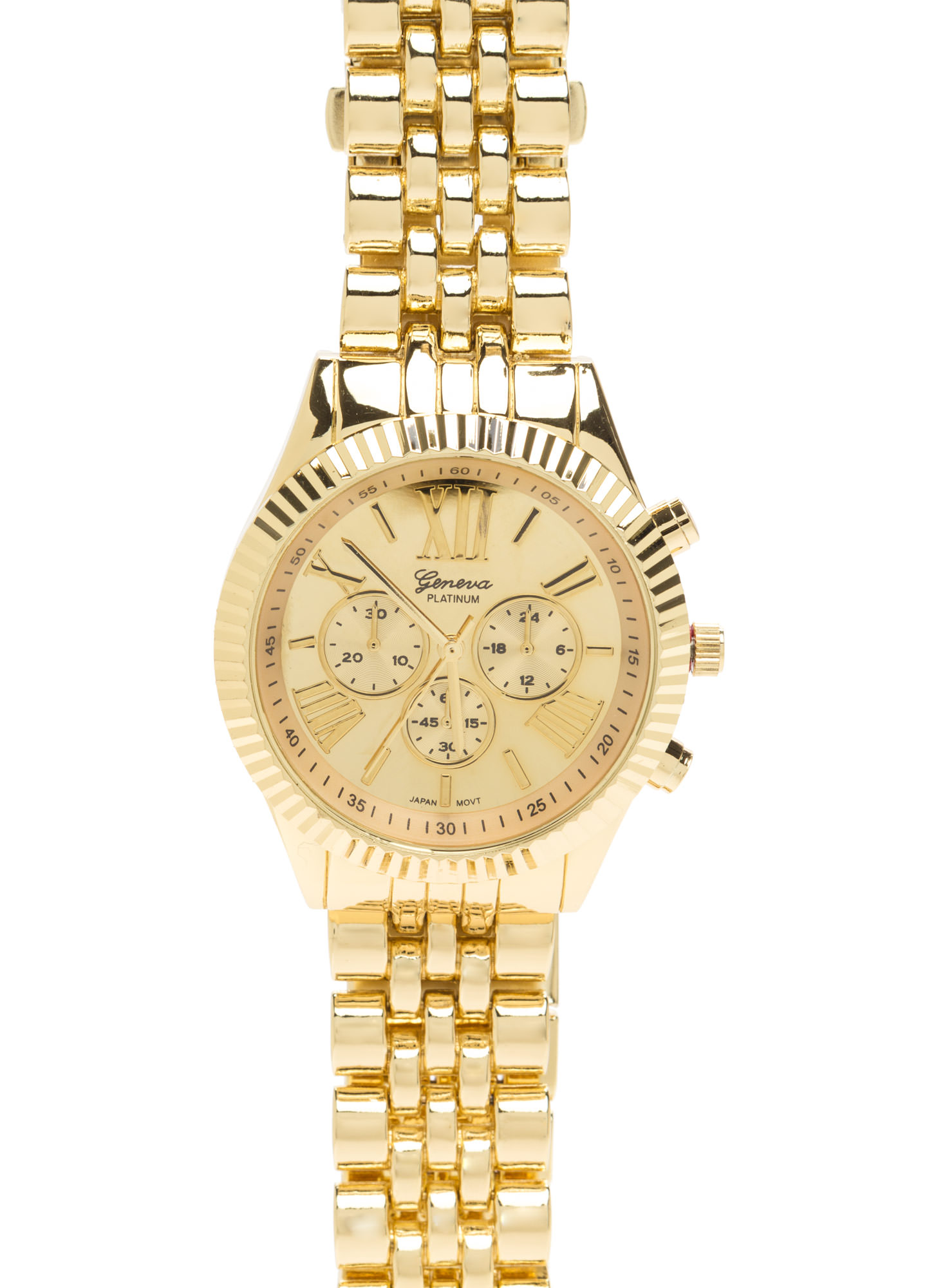Ahead Of Time Metallic Chronograph Watch GOLD