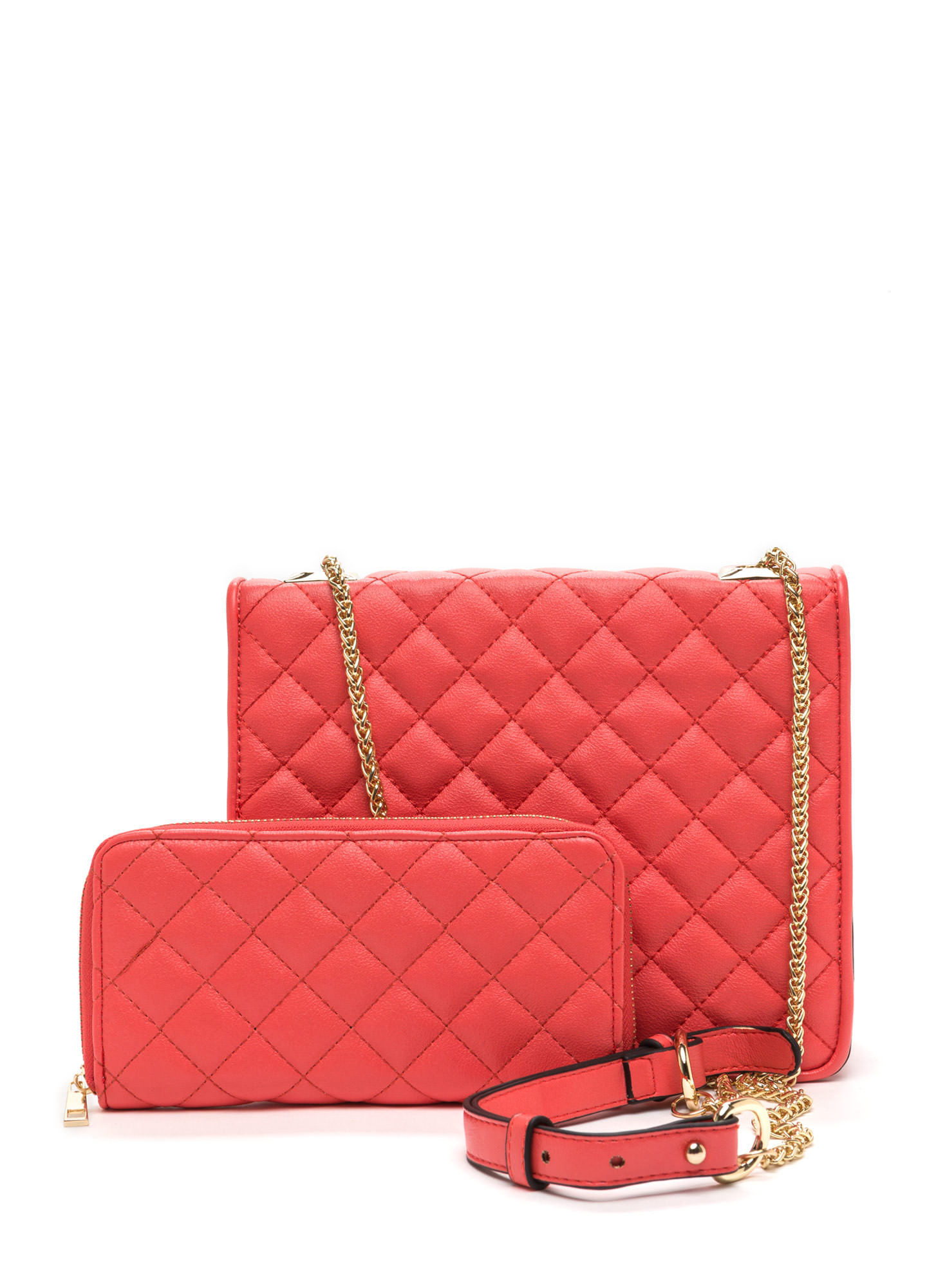 So Smitten Quilted Bag And Wallet CORAL