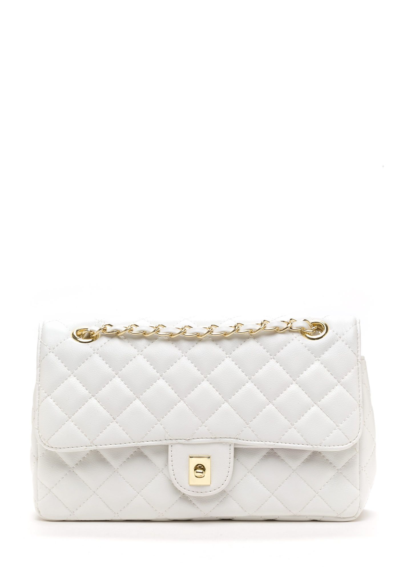 Luxe Life Small Quilted Bag And Wallet WHITE