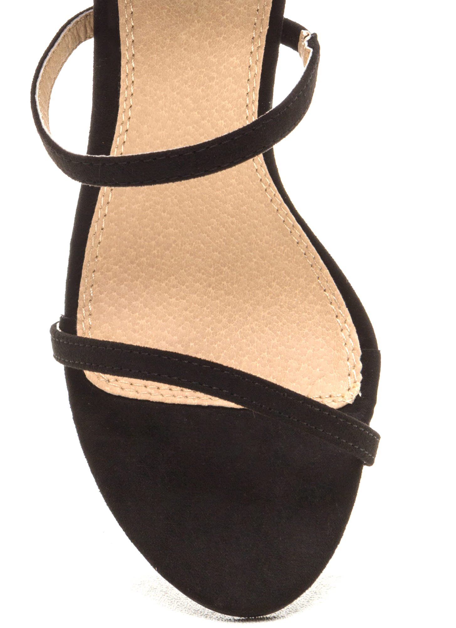 Three To One Faux Suede Strappy Heels BLACK