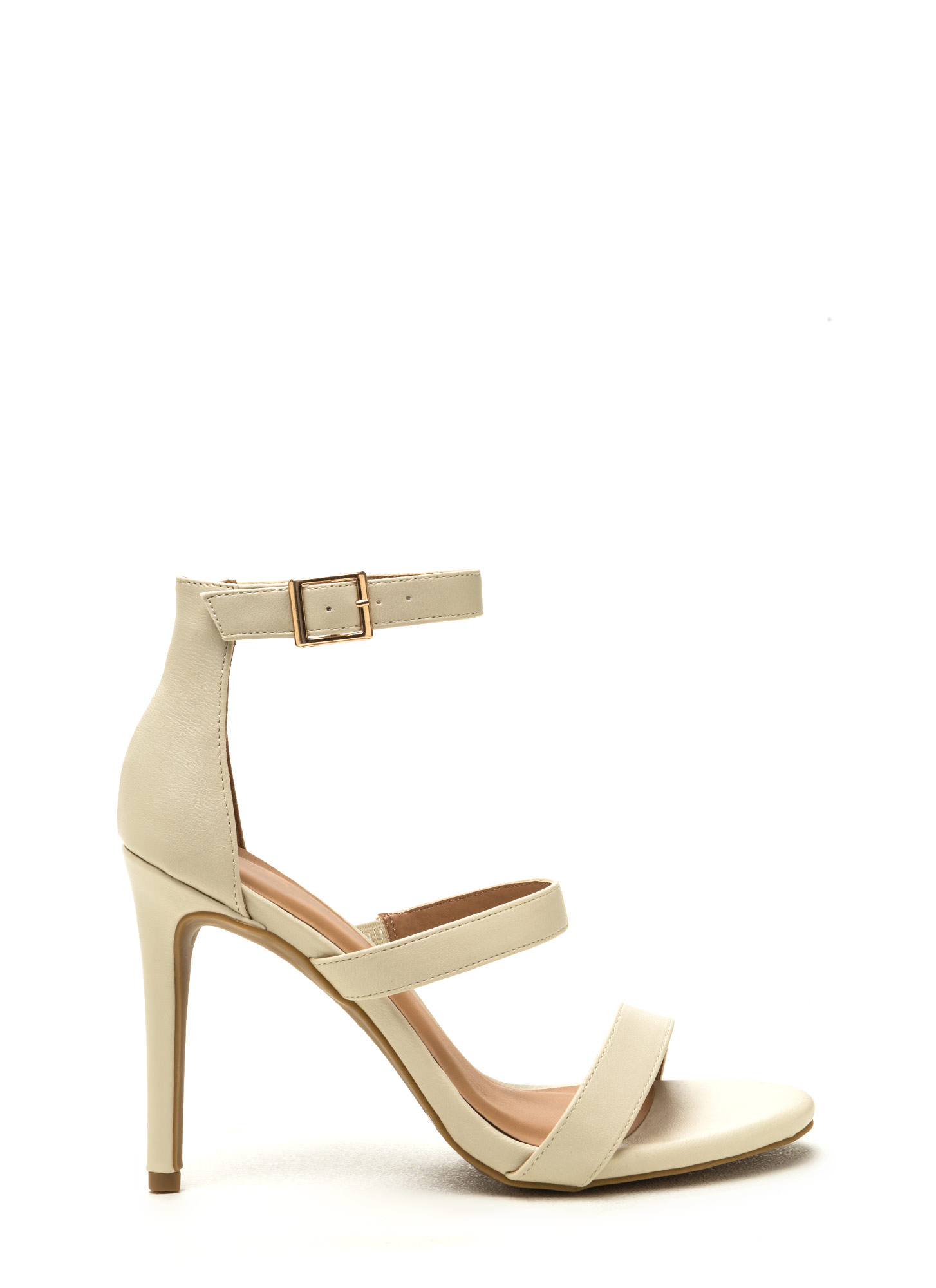 Triple Crown Strappy Faux Leather Heels IVORY