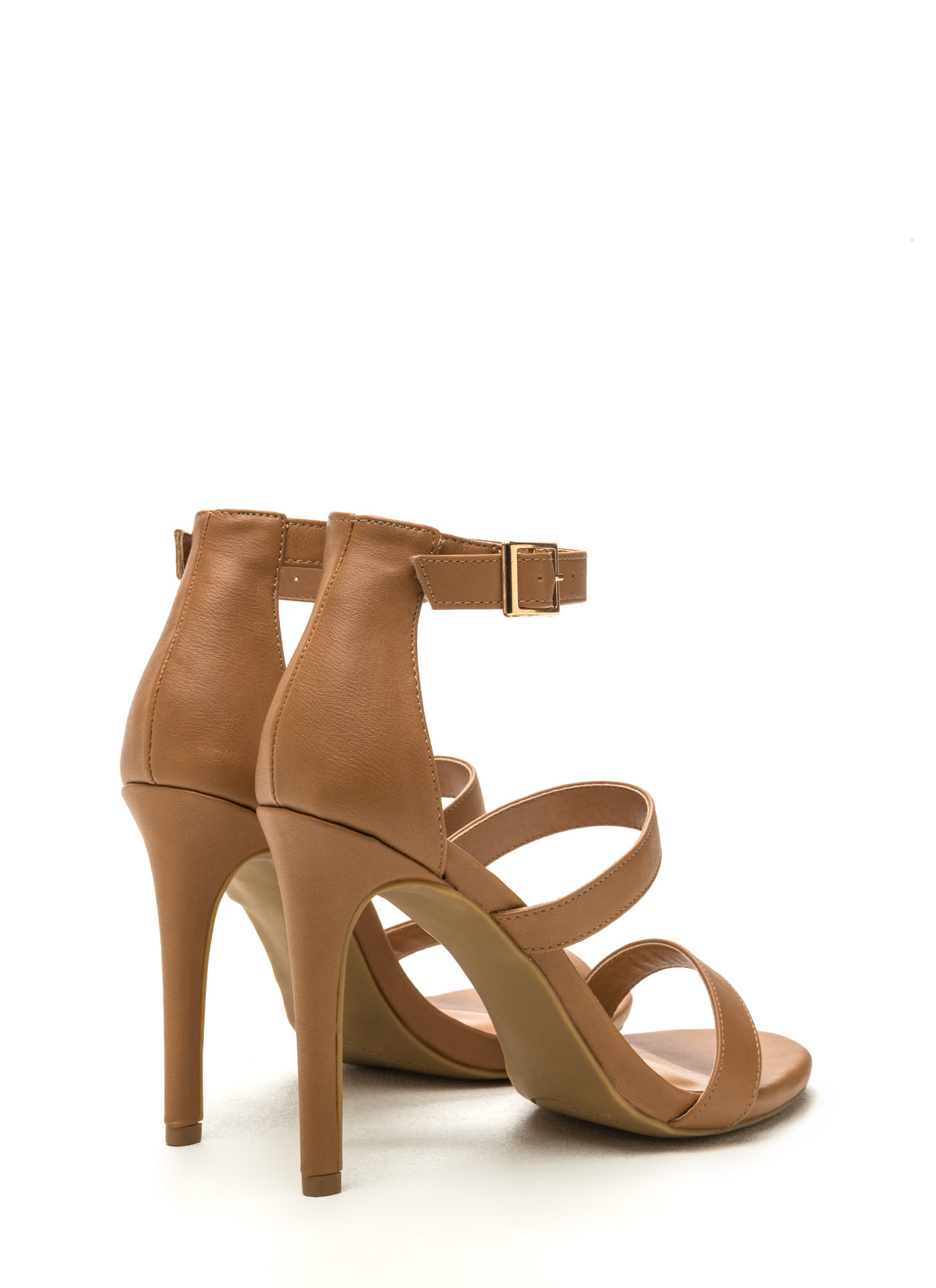 Triple Crown Strappy Faux Leather Heels NATURAL