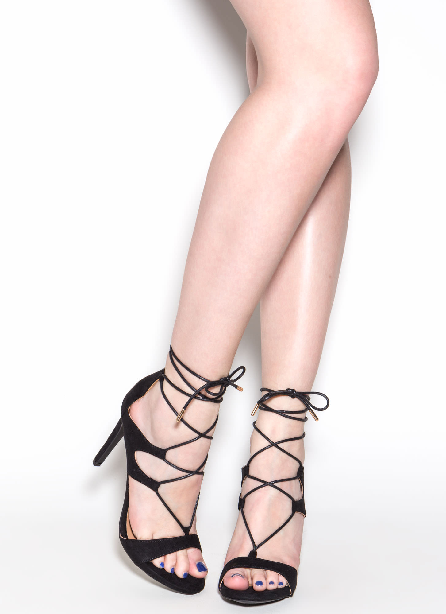 Style Star Faux Suede Lace-Up Heels BLACK