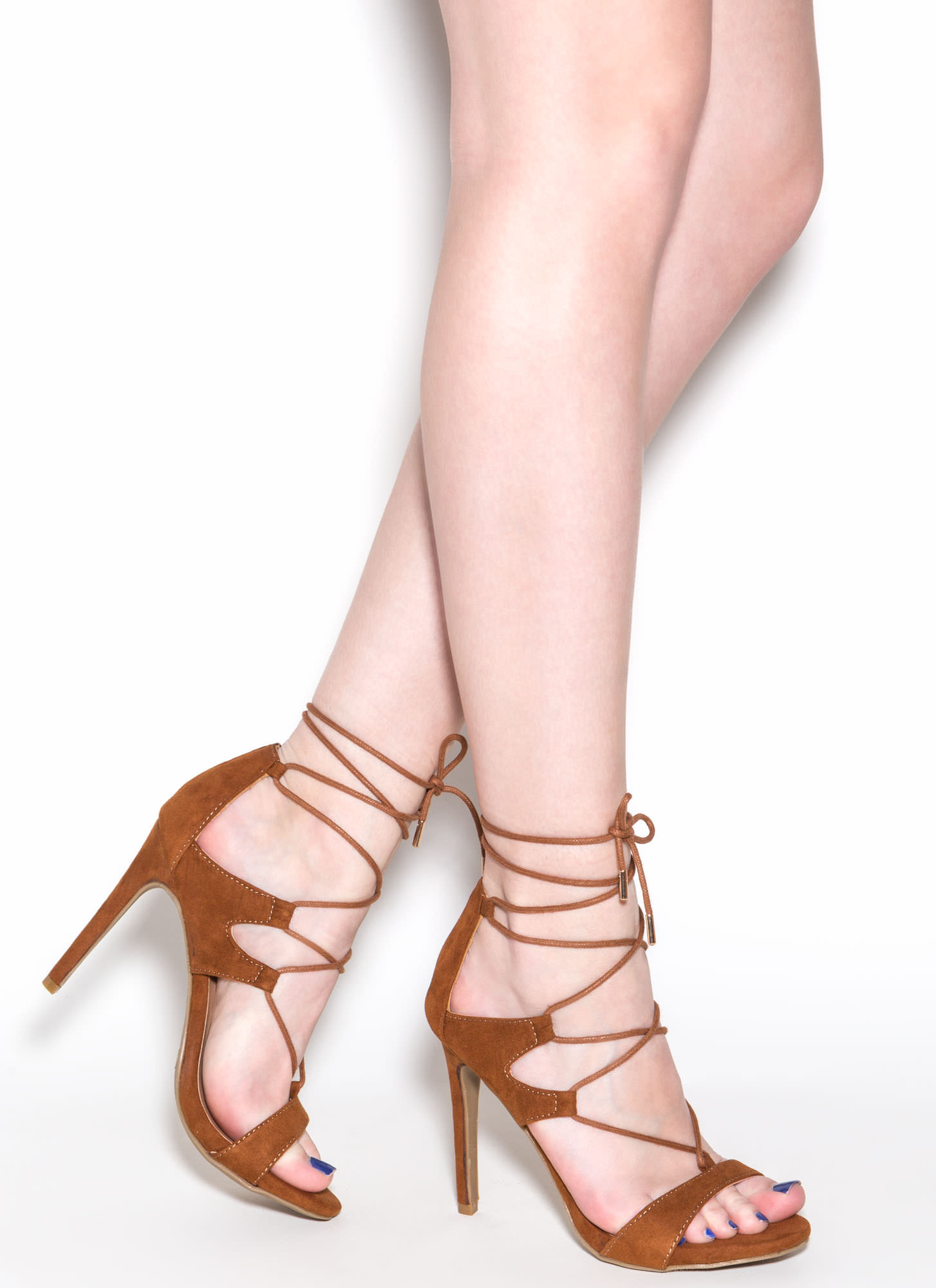 Style Star Faux Suede Lace-Up Heels CHESTNUT