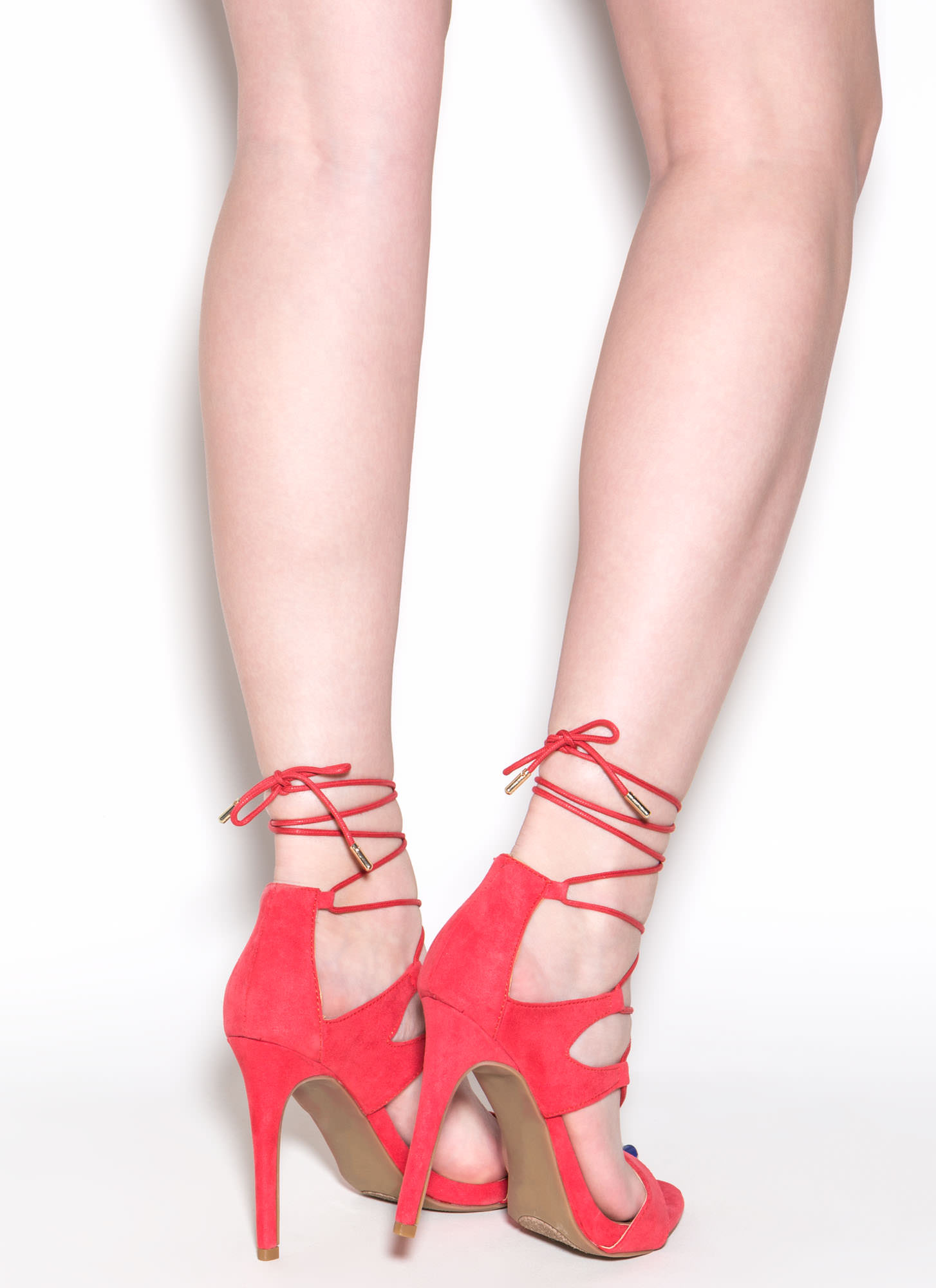 Style Star Faux Suede Lace-Up Heels CORAL
