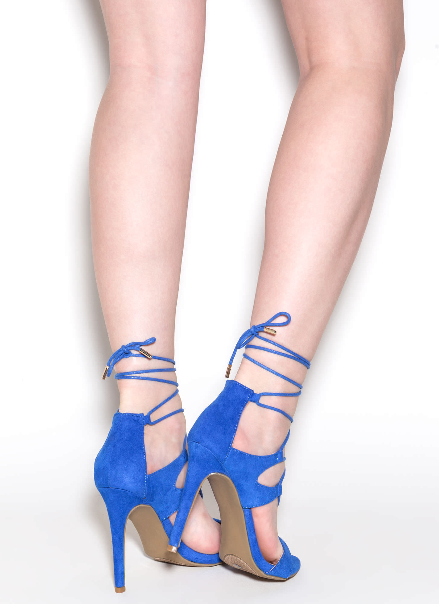 Style Star Faux Suede Lace-Up Heels SAPPHIRE